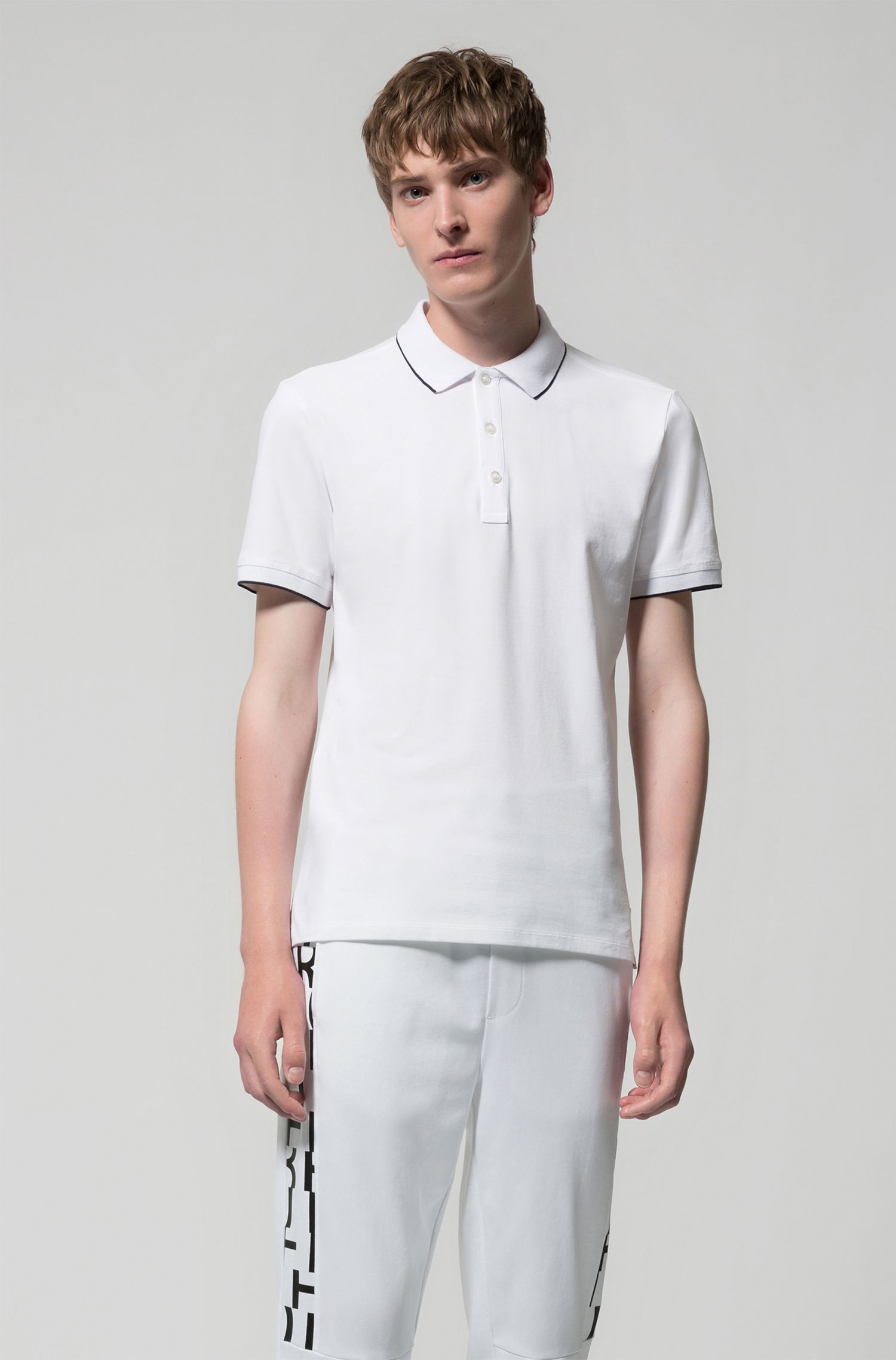 Slim-fit pique polo shirt with contrast tipping, Open White