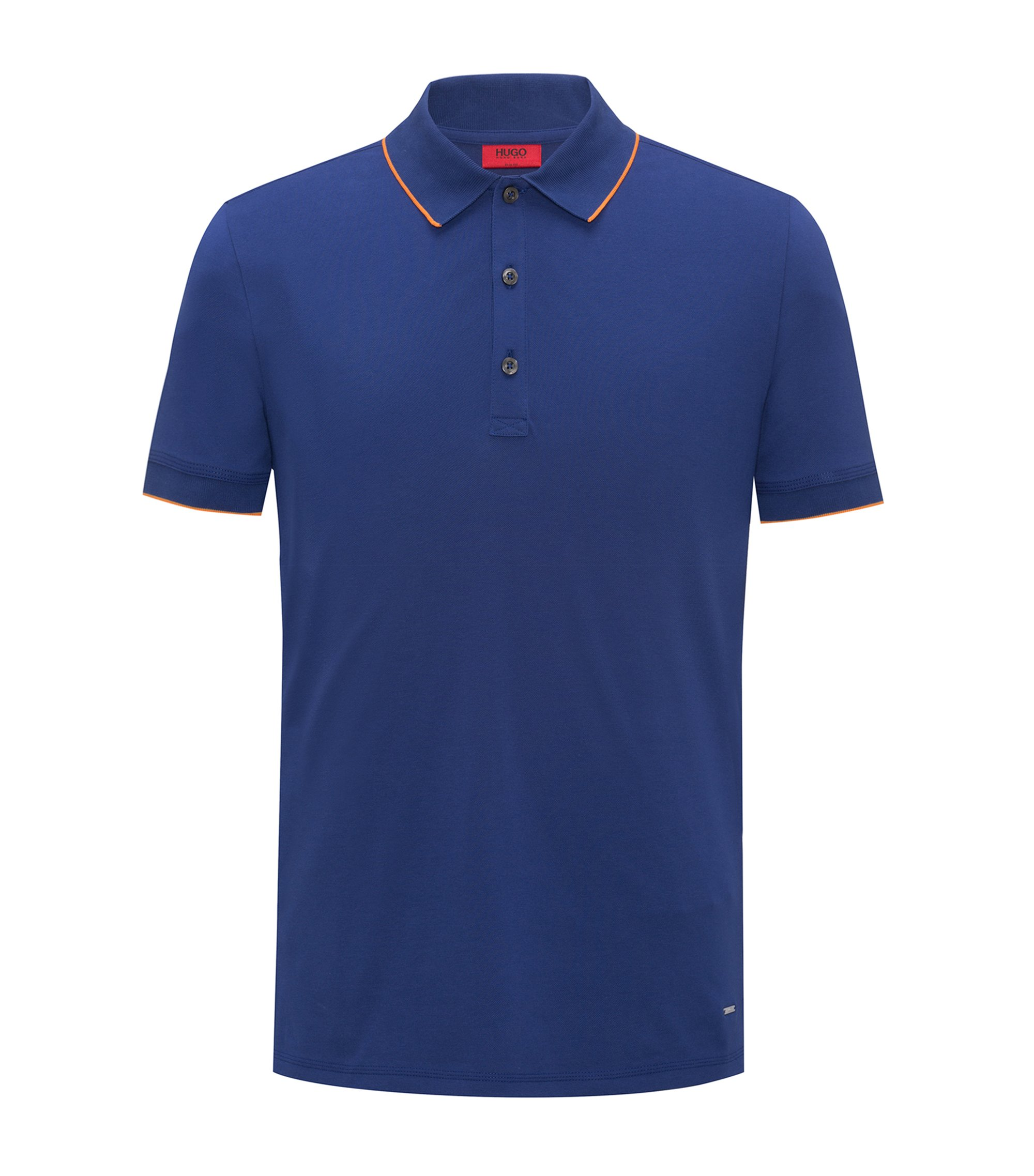 Slim-fit pique polo shirt with contrast tipping, Dark Blue