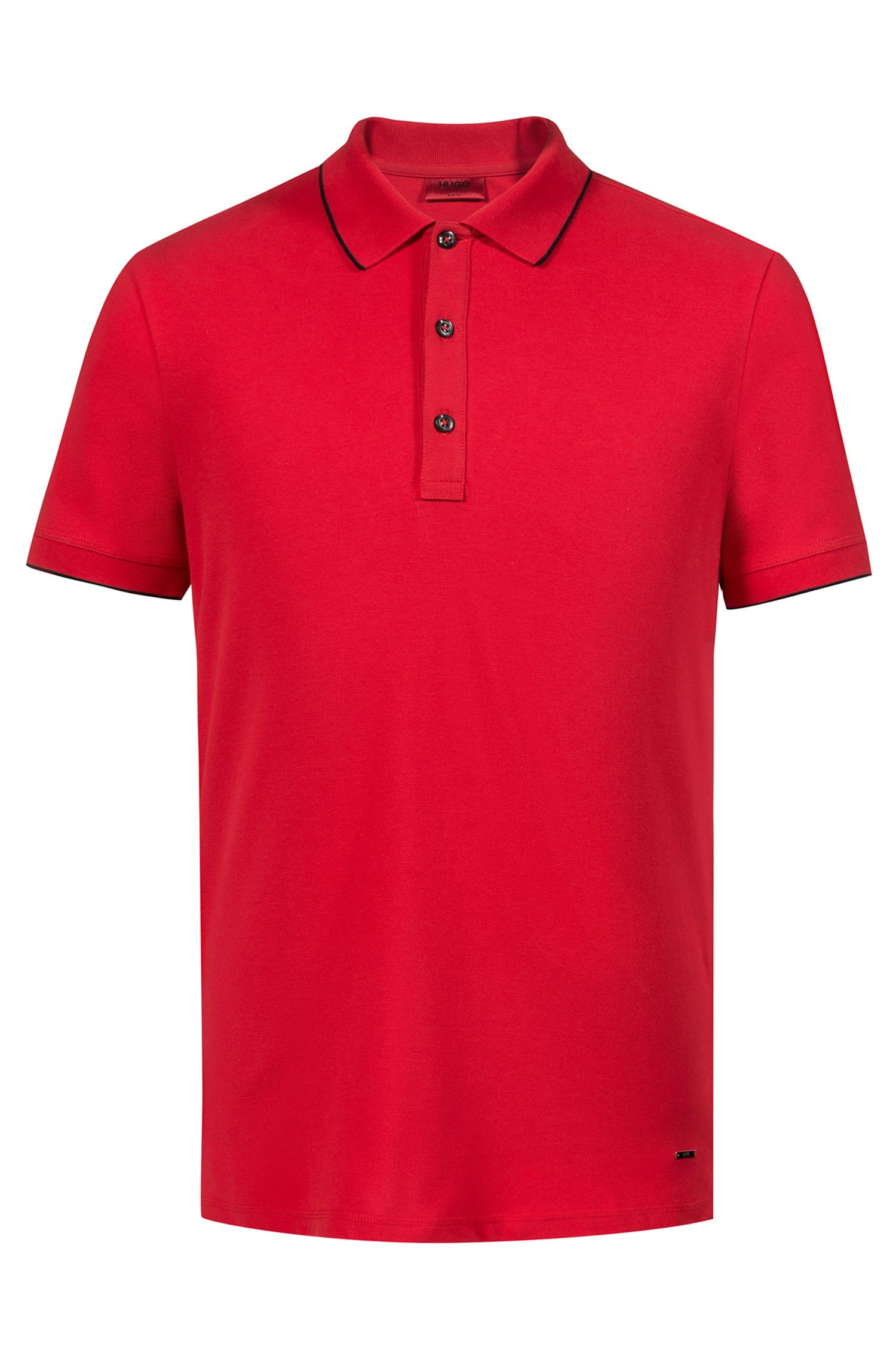 Slim-fit pique polo shirt with contrast tipping, Red