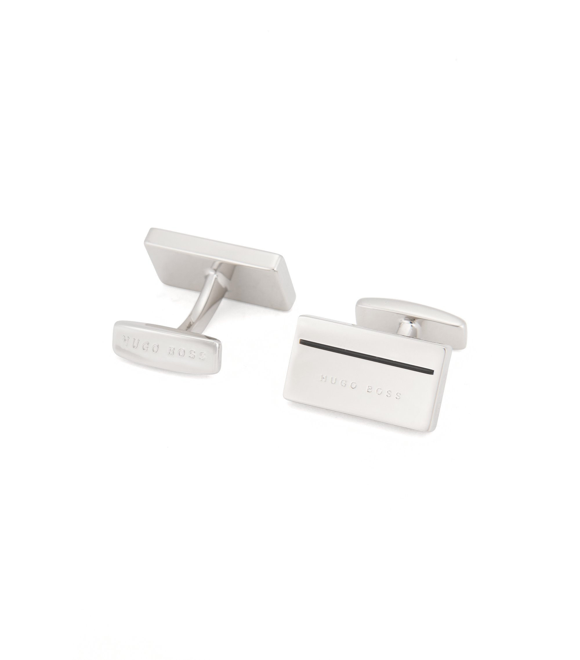 Enamel & Brass Cufflinks | Cam, Black
