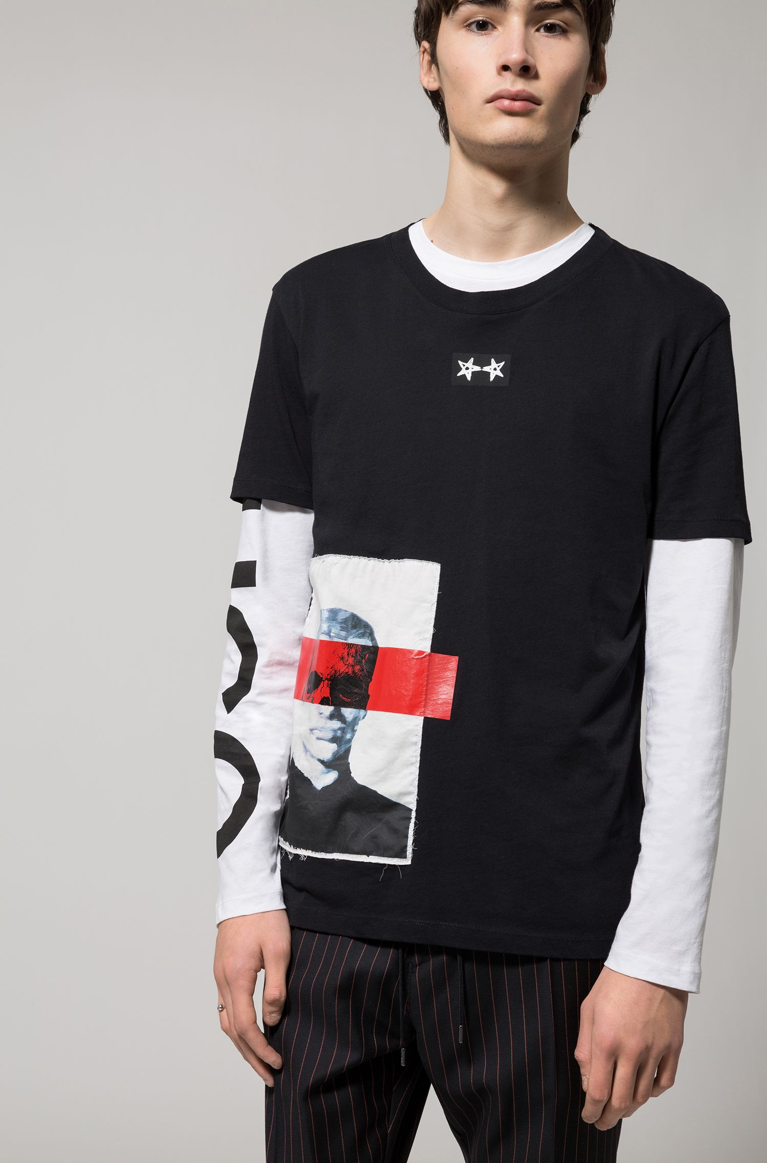 Appliqué Cotton Graphic T-Shirt | Dimage, Black