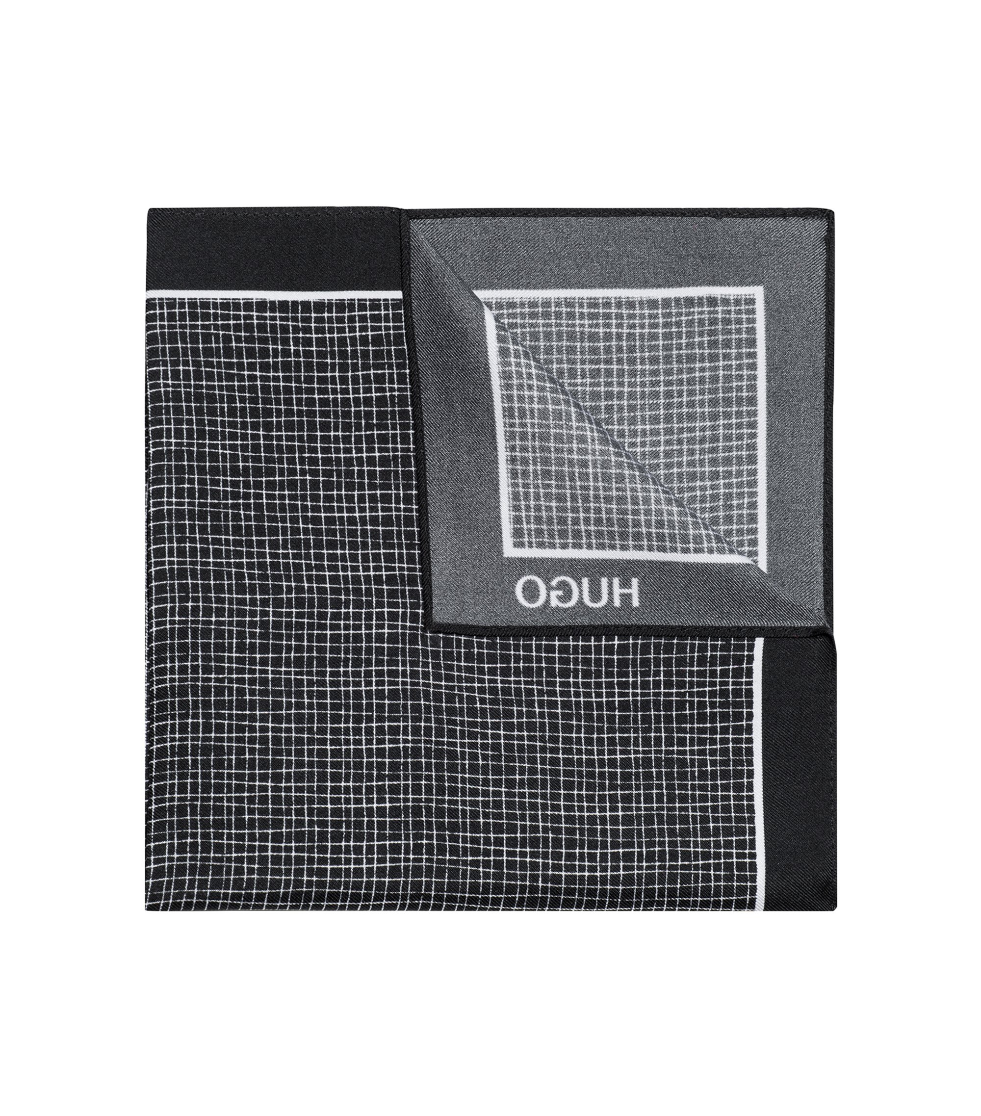 Crosshatch Italian Silk Pocket Square, Black