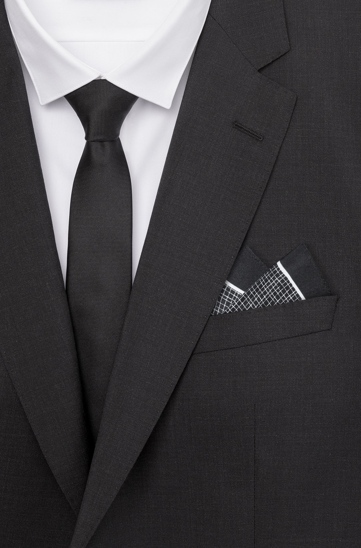 Crosshatch Italian Silk Pocket Square