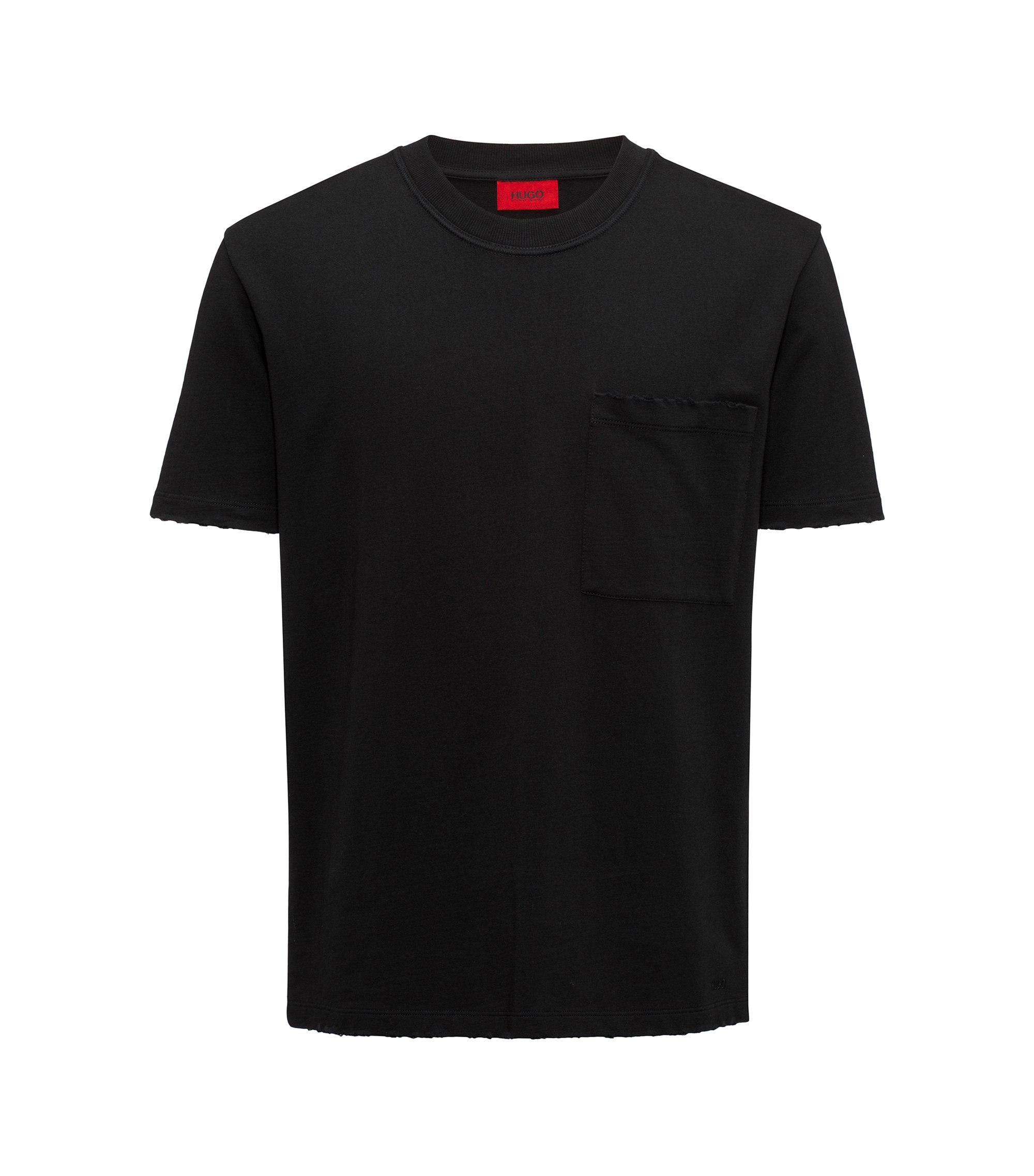 Destroyed Cotton T-Shirt | Drizz, Black