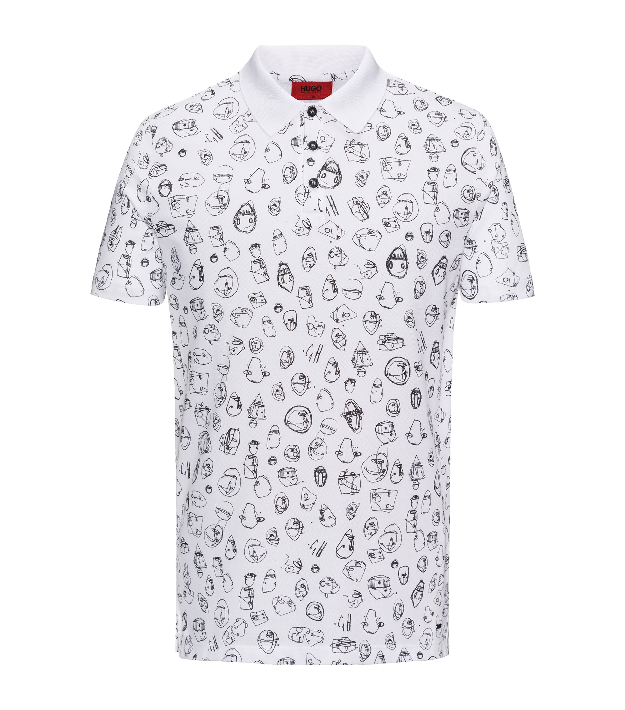 Scribble-Print Cotton Polo Shirt, Slim Fit | Deak, White