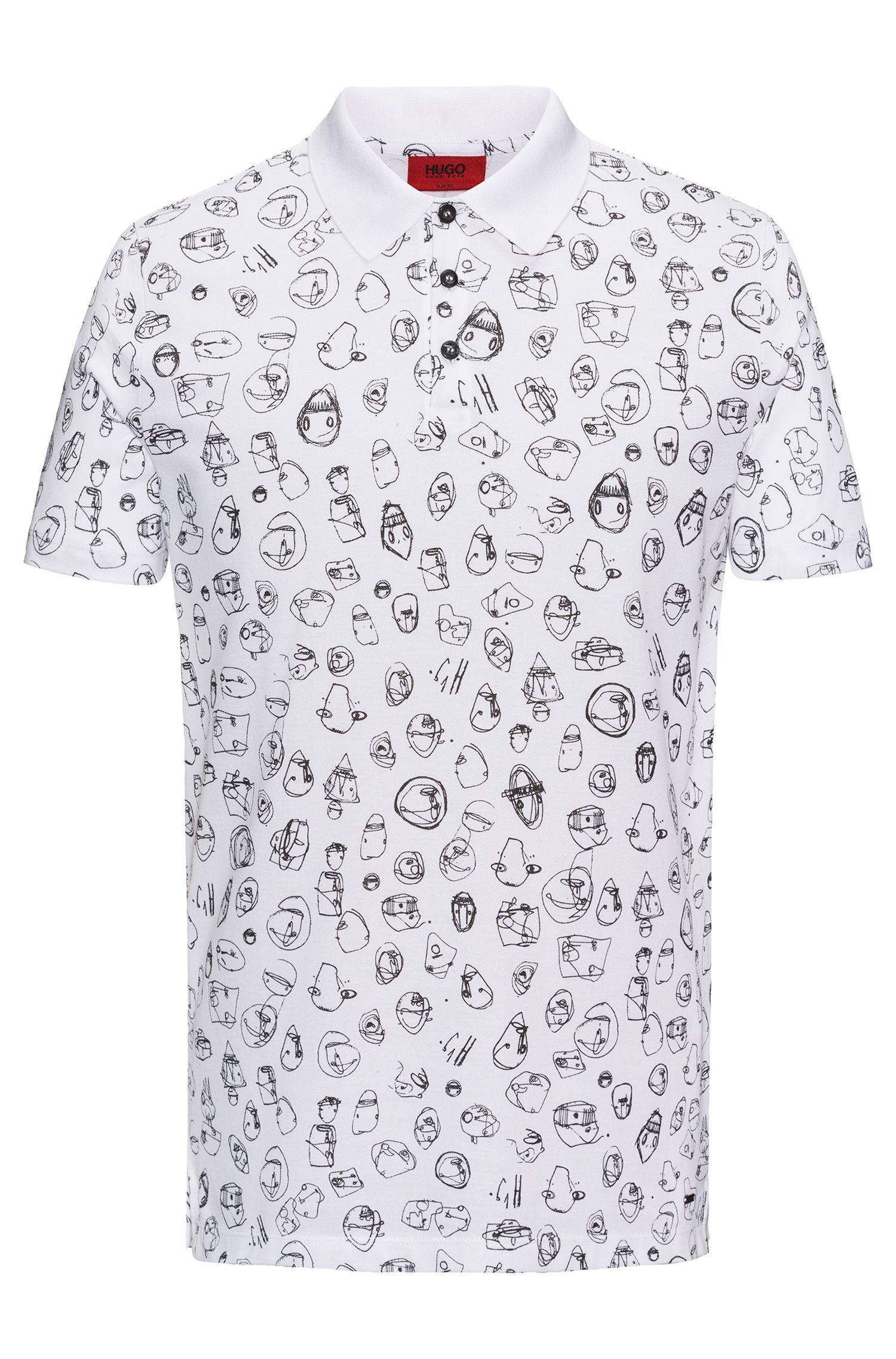 Scribble-Print Cotton Polo Shirt, Slim Fit   Deak, White