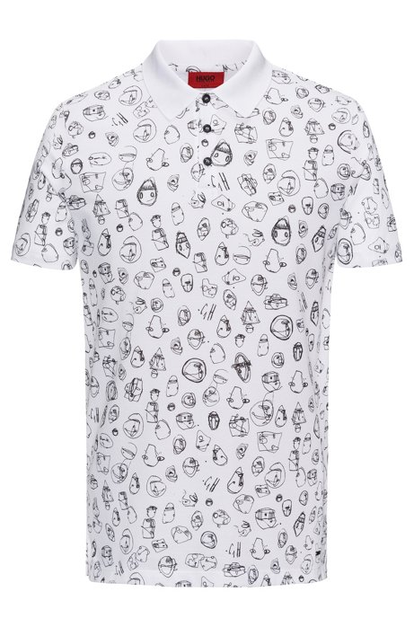 221912bb HUGO - Scribble-Print Cotton Polo Shirt, Slim Fit | Deak