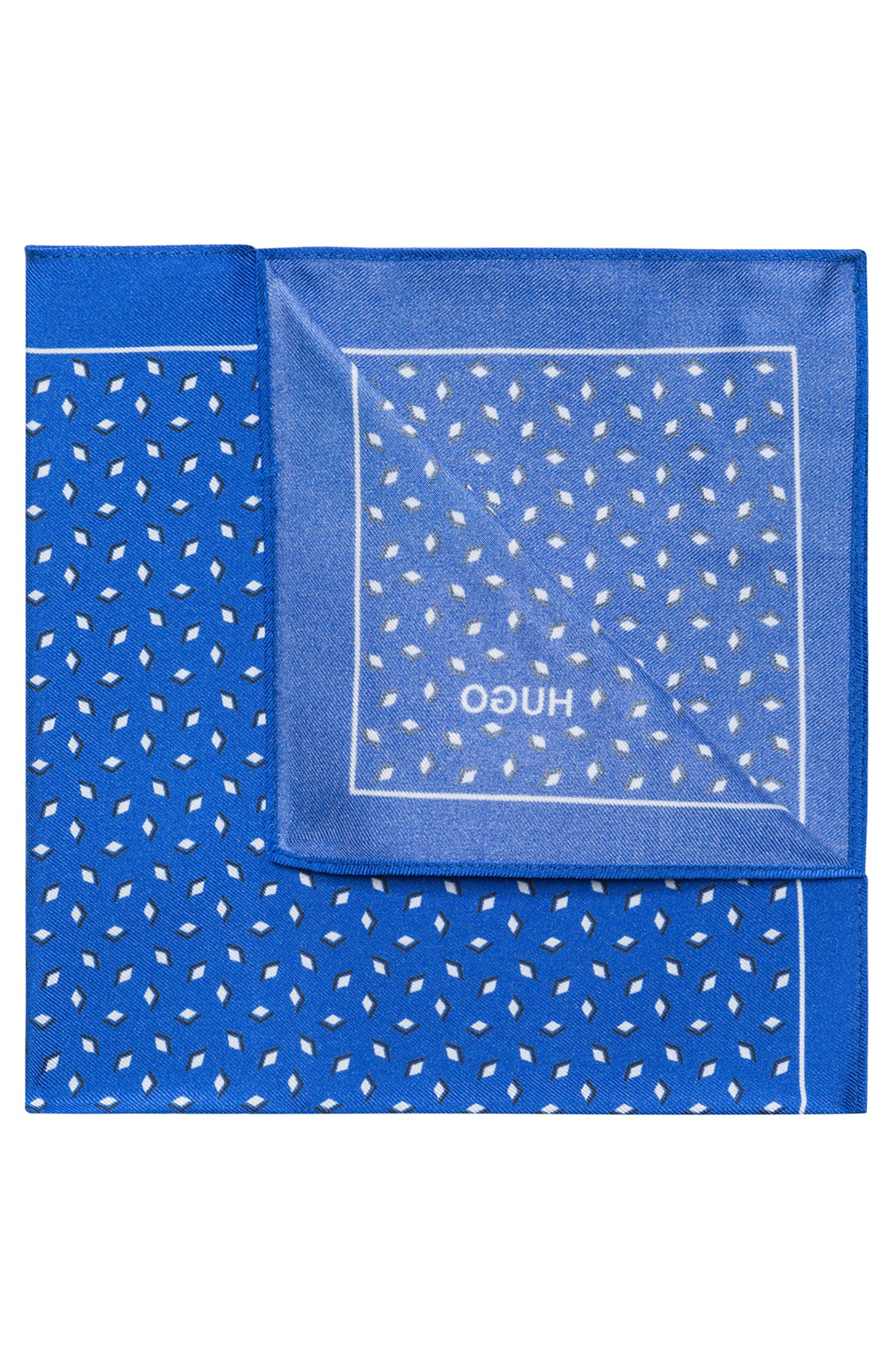 Diamond Italian Silk Pocket Square, Light Blue