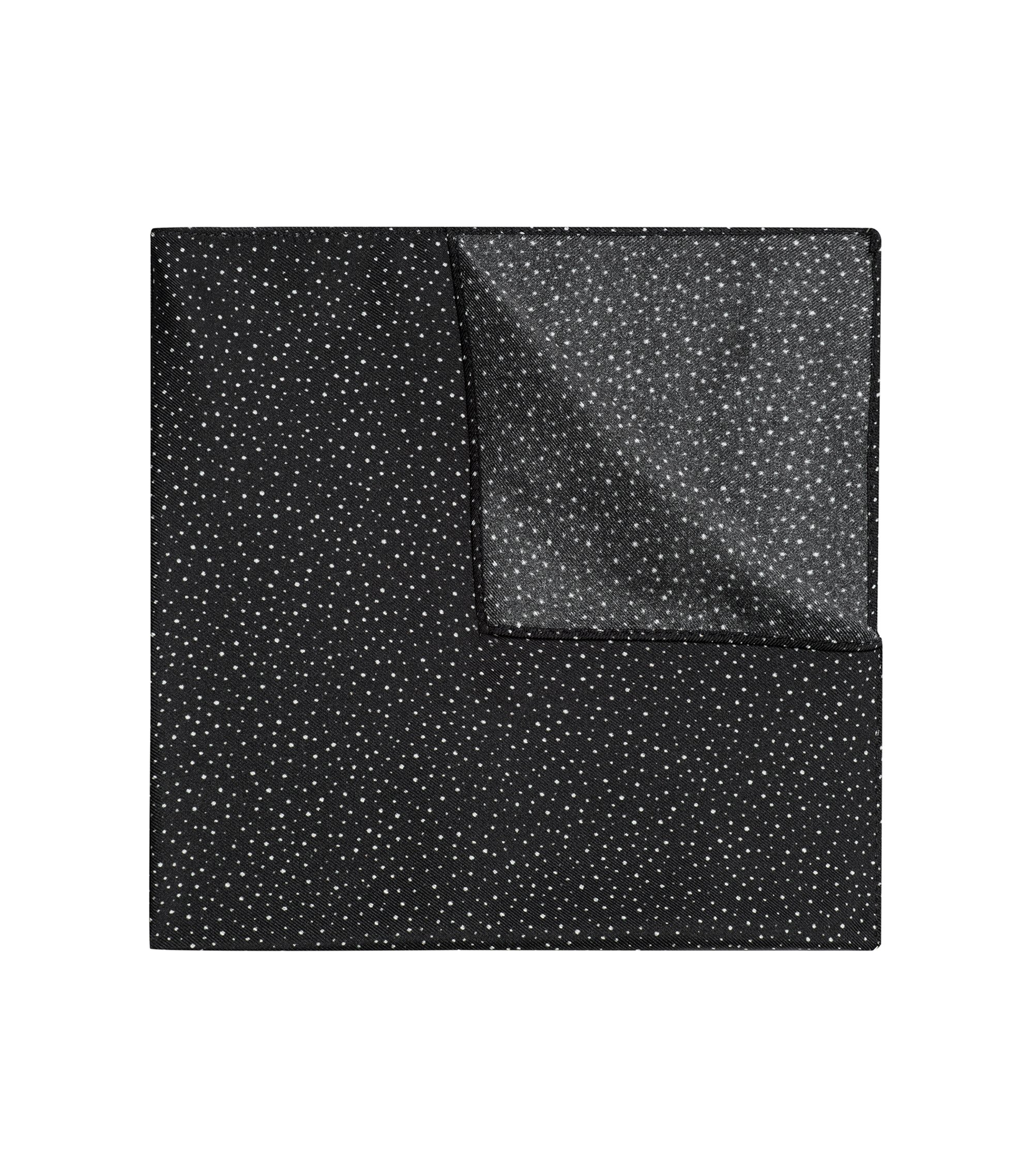Speckle Dot Italian Silk Pocket Square, Black