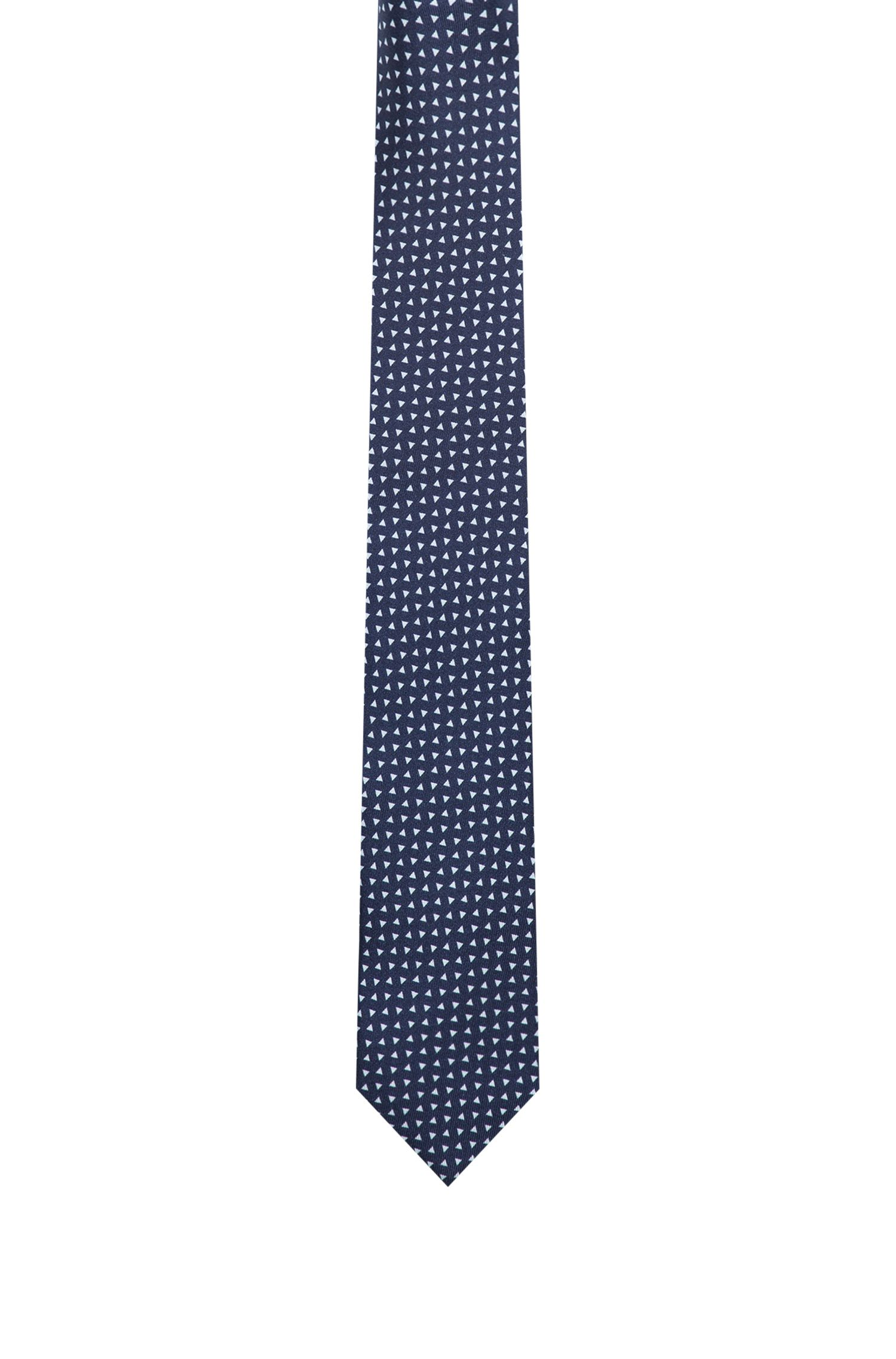 Triangle Italian Silk Slim Tie, Dark Blue