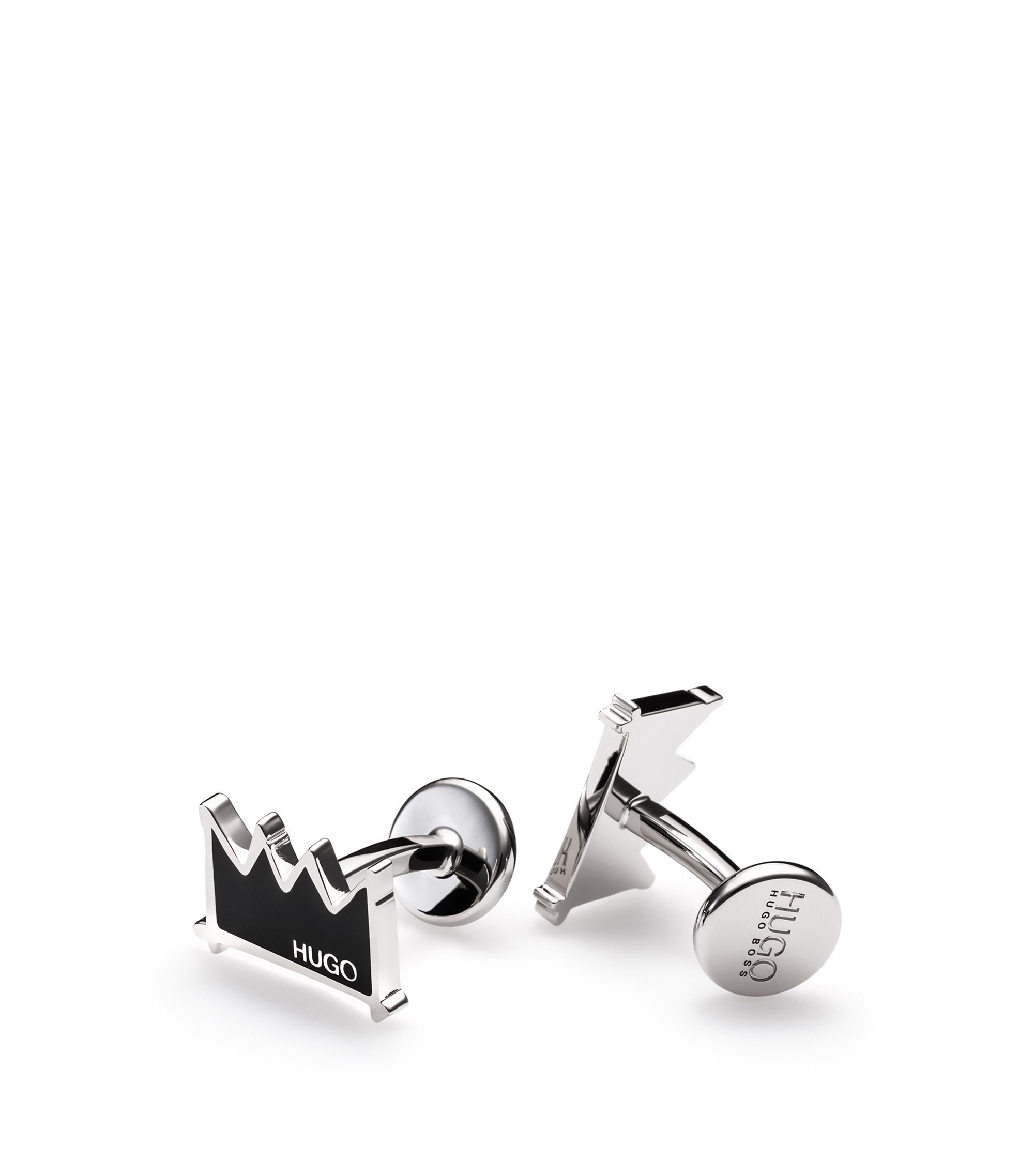 Enamel & Brass Crown Cufflinks | E-Crown, Black