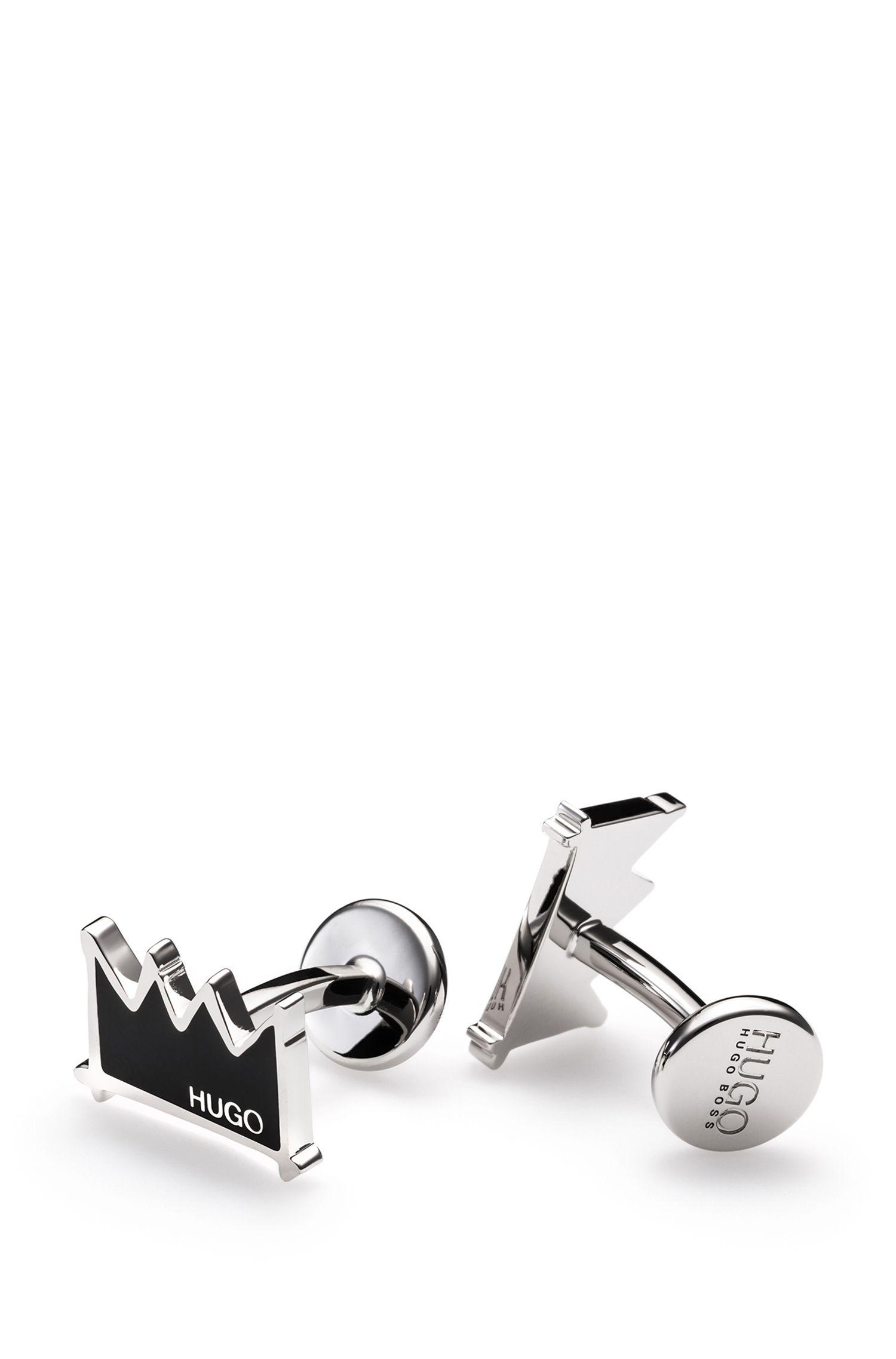 Enamel & Brass Crown Cufflinks | E-Crown