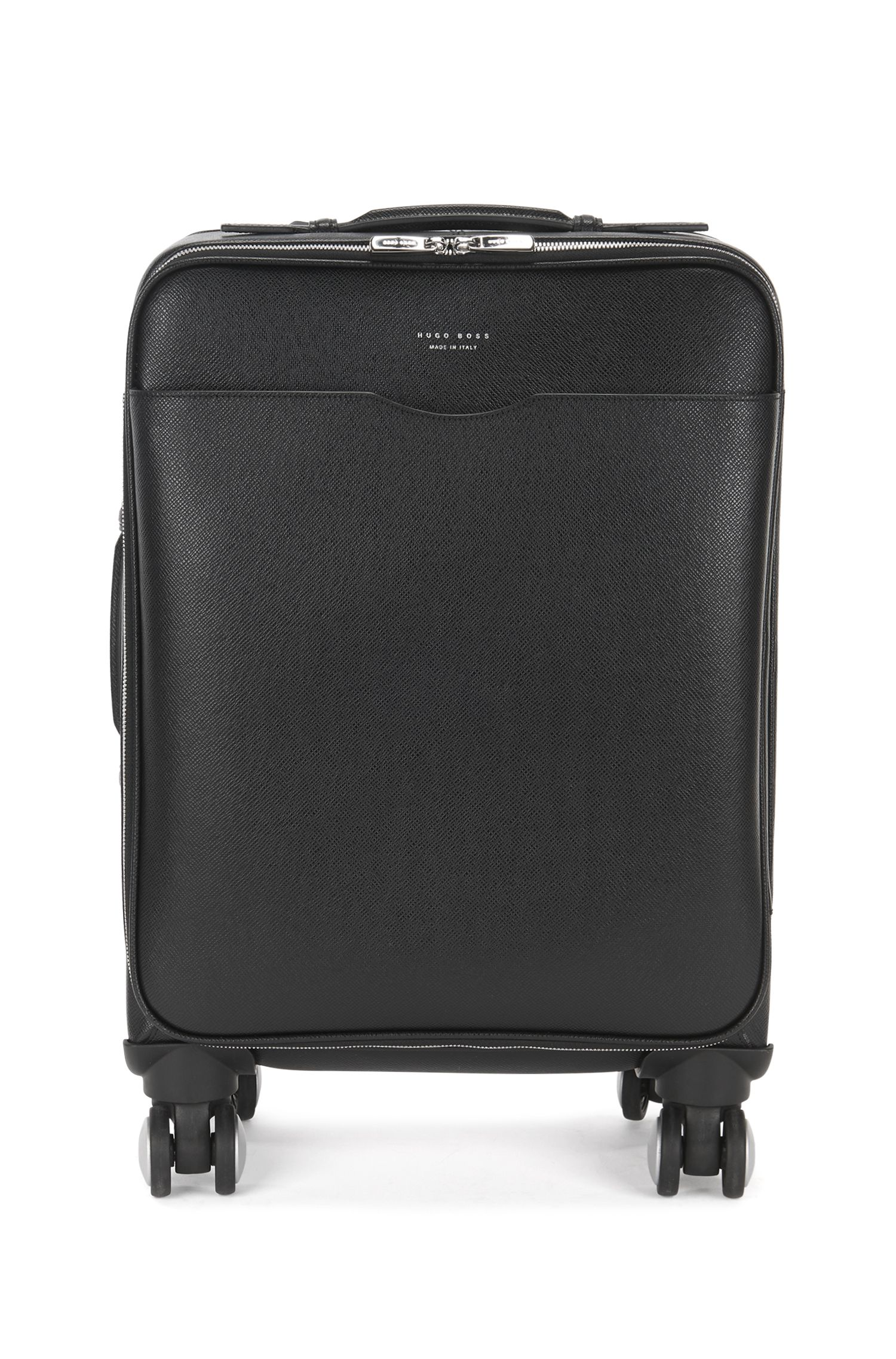 Palmellato Leather Carryon Luggage | Signature Trolley S18, Black
