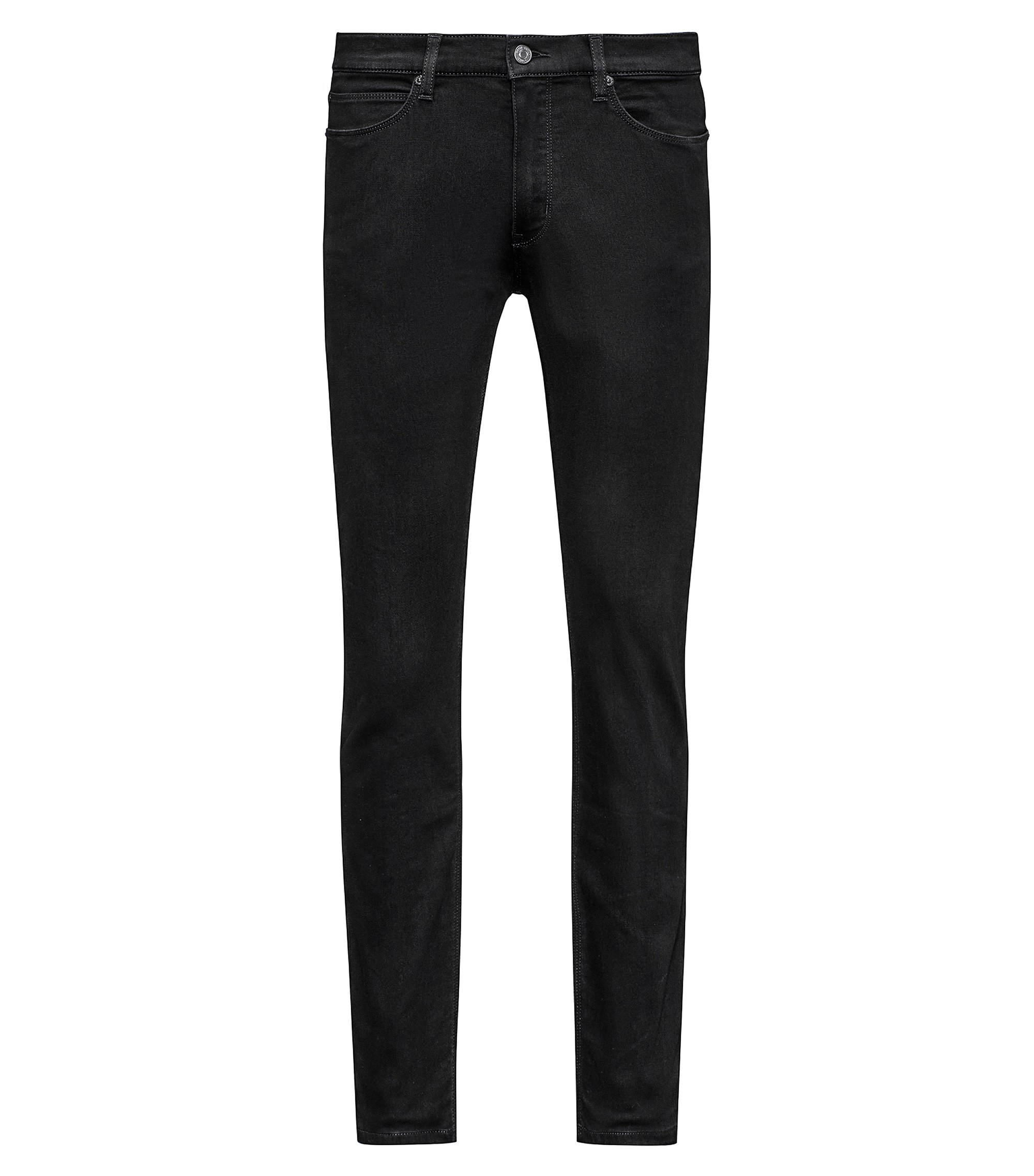 Stretch Cotton Blend Pant, Skinny Fit | HUGO 734, Black