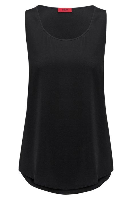 Sleeveless top in stretch silk, Black