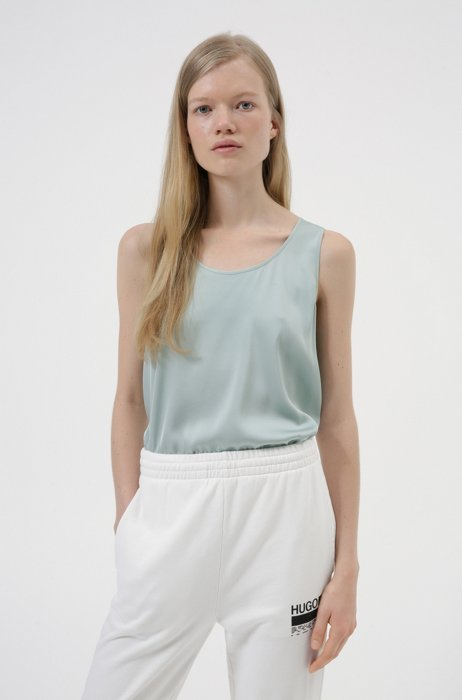 Sleeveless top in stretch silk, Light Green