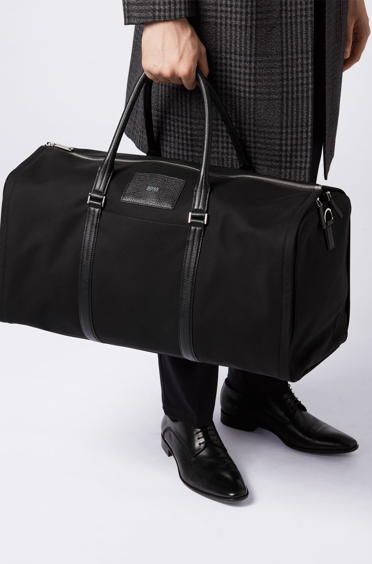 Leather-Trim Nylon Carryall Bag | Meridian Holdall, Black