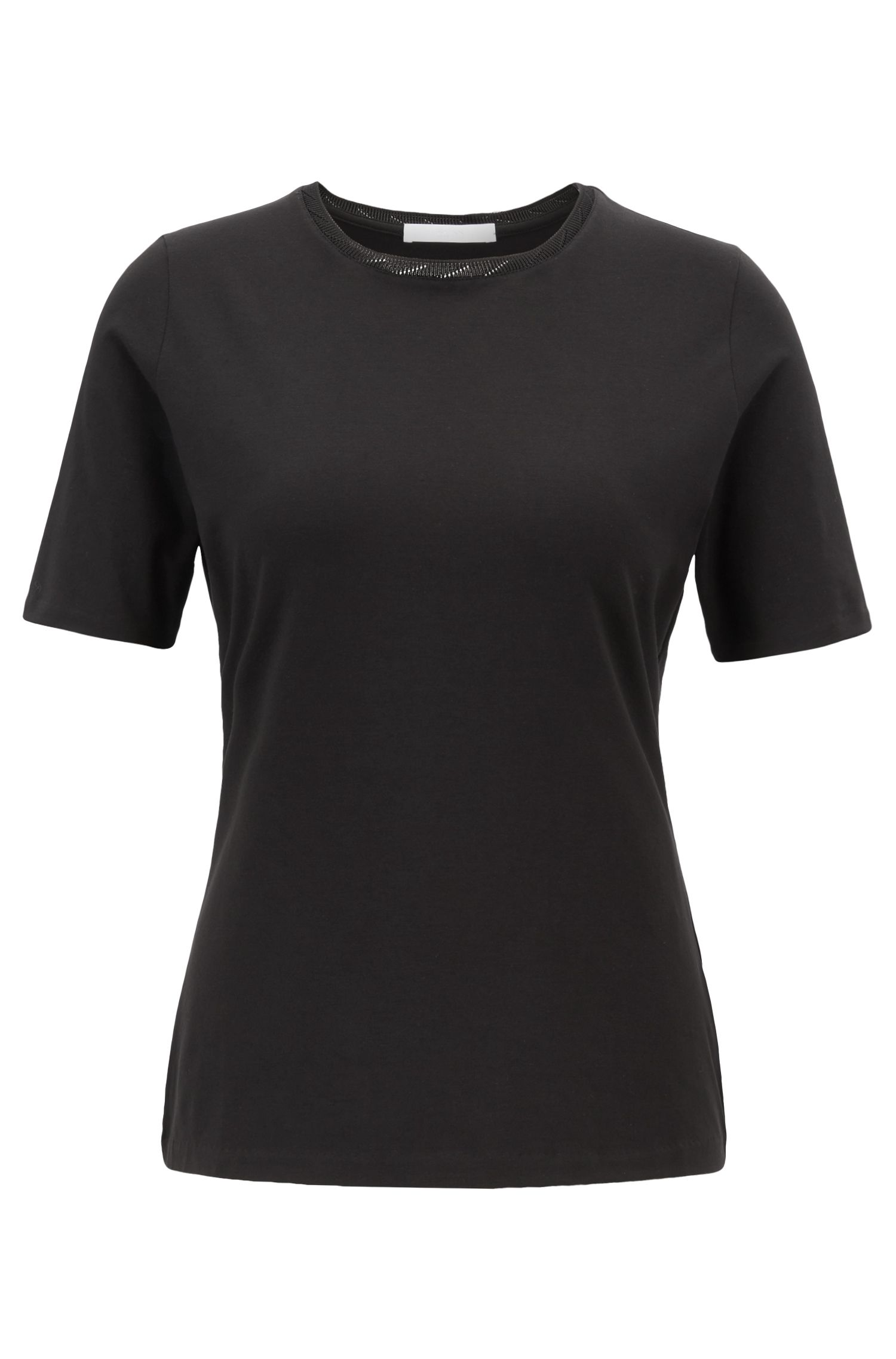 Regular-fit crew-neck top in stretch jersey, Black