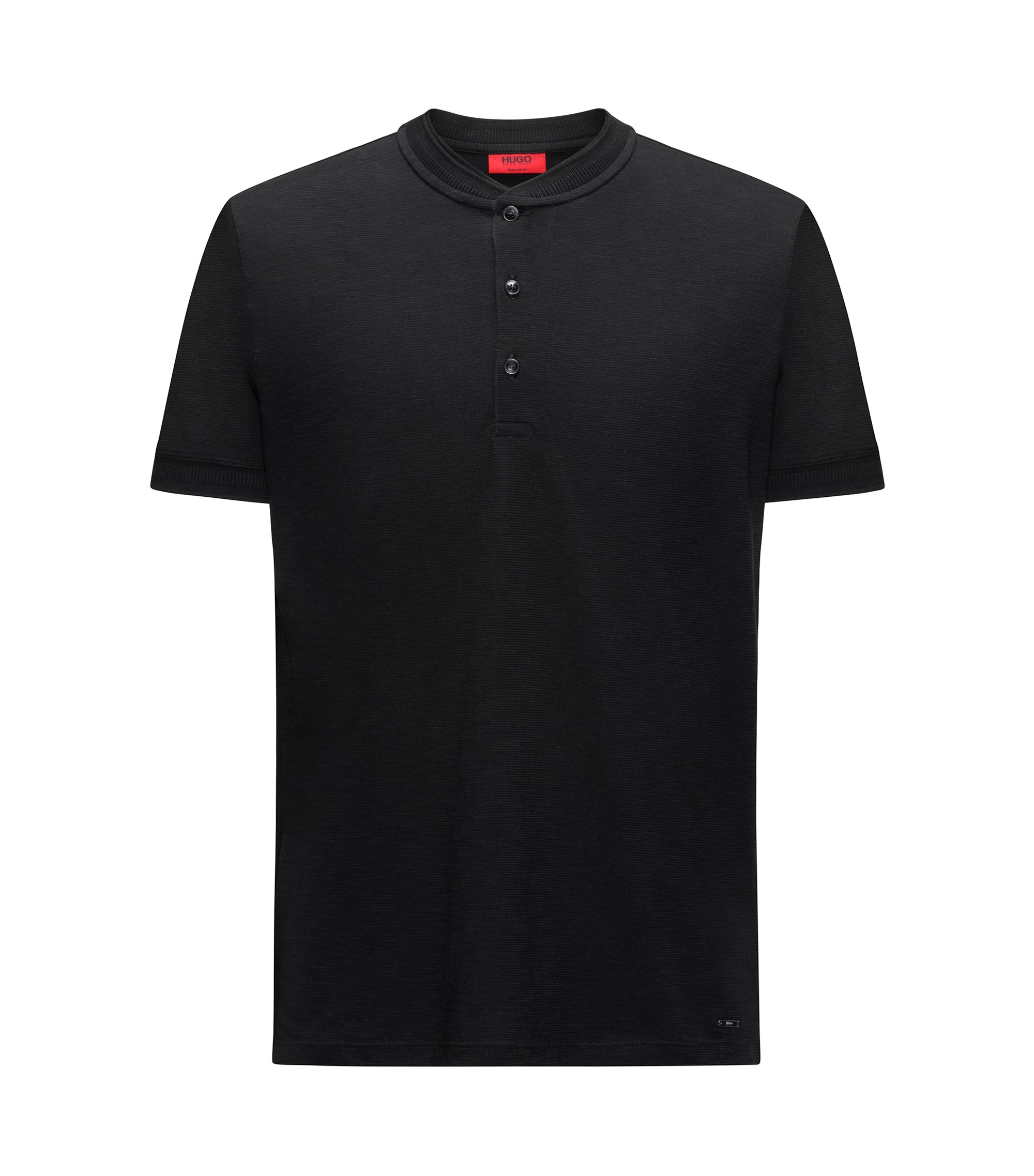 Cotton Henley Shirt | Denots, Black