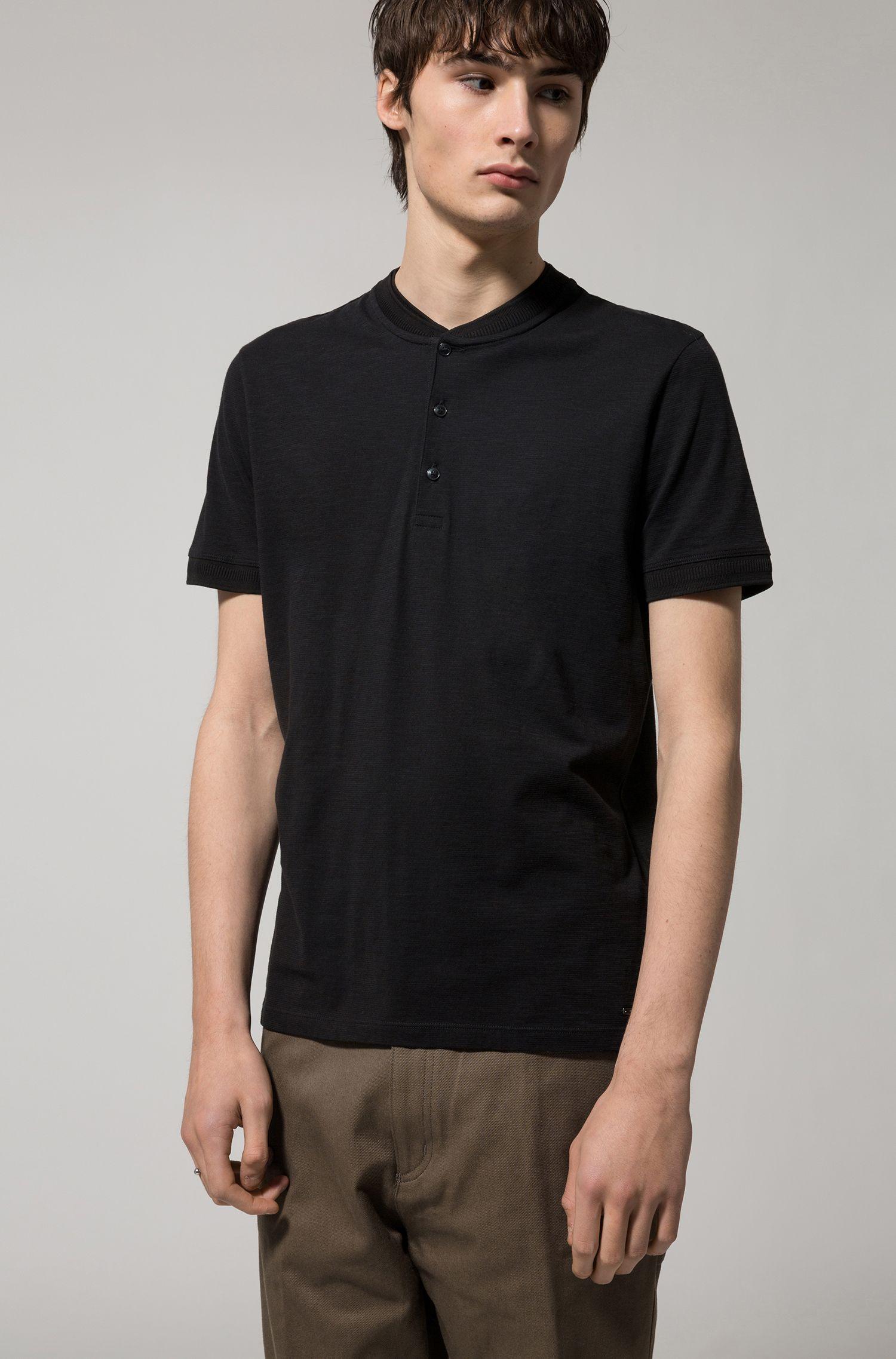 Cotton Henley Shirt | Denots, Black
