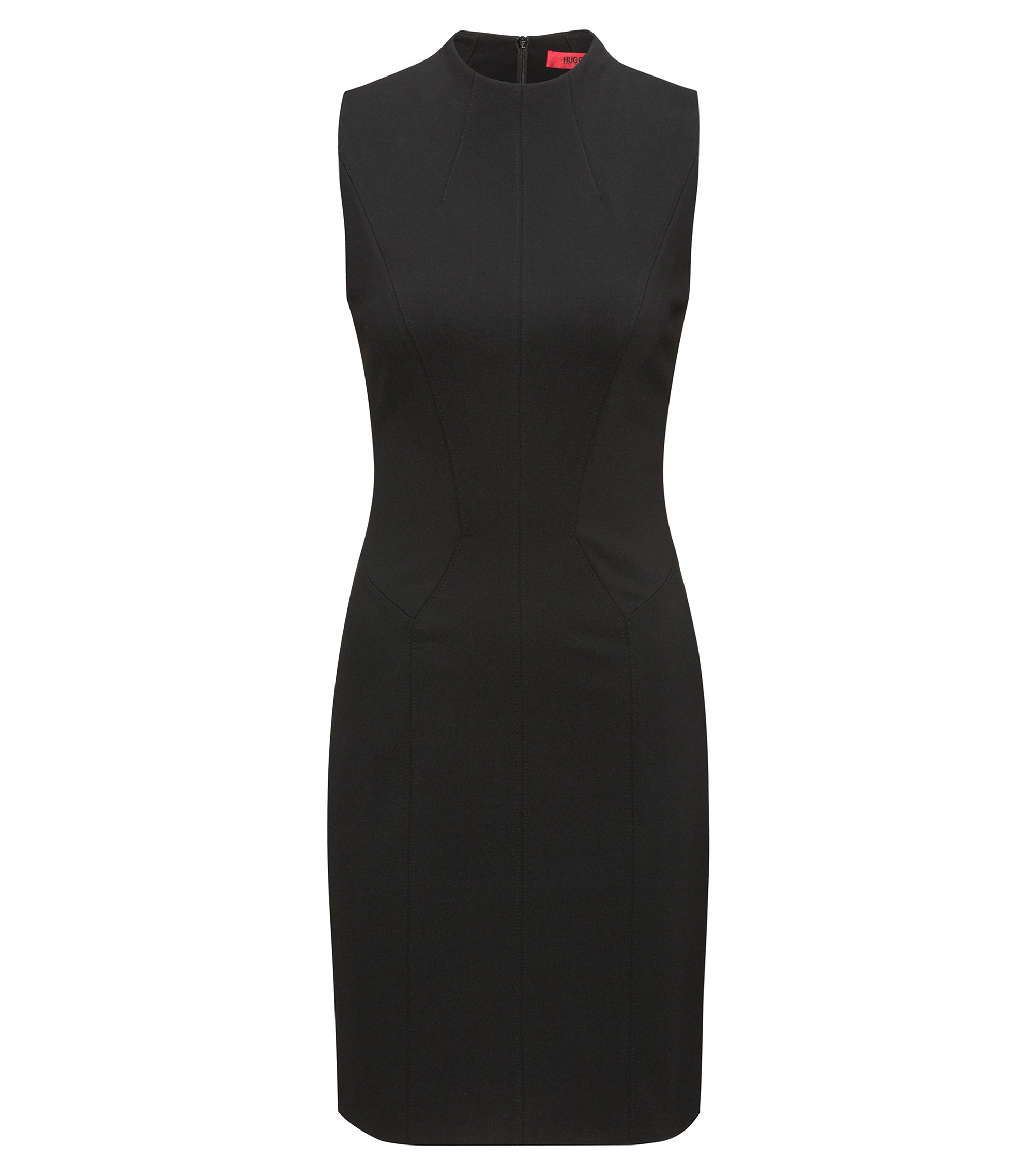 High-Collar Sheath Dress | Kihara, Black