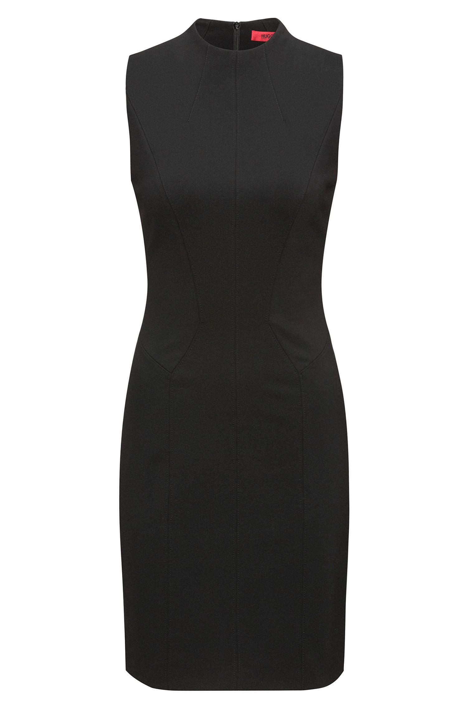 High-Collar Sheath Dress | Kihara, Black