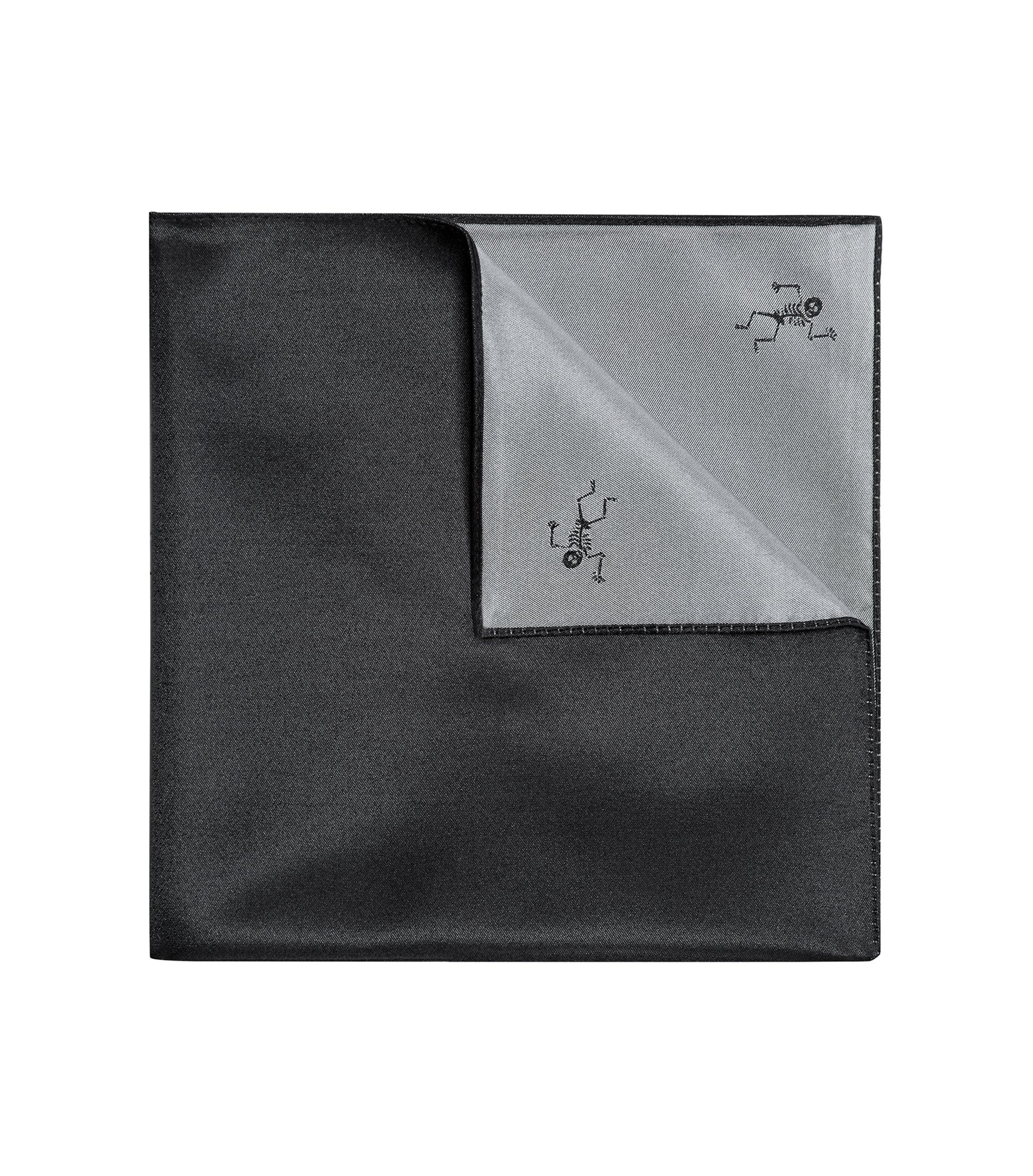 Skeleton-Print Italian Silk Pocket Square, Open Grey
