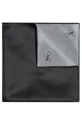 Skeleton-Print Italian Silk Pocket Square, Open Grey