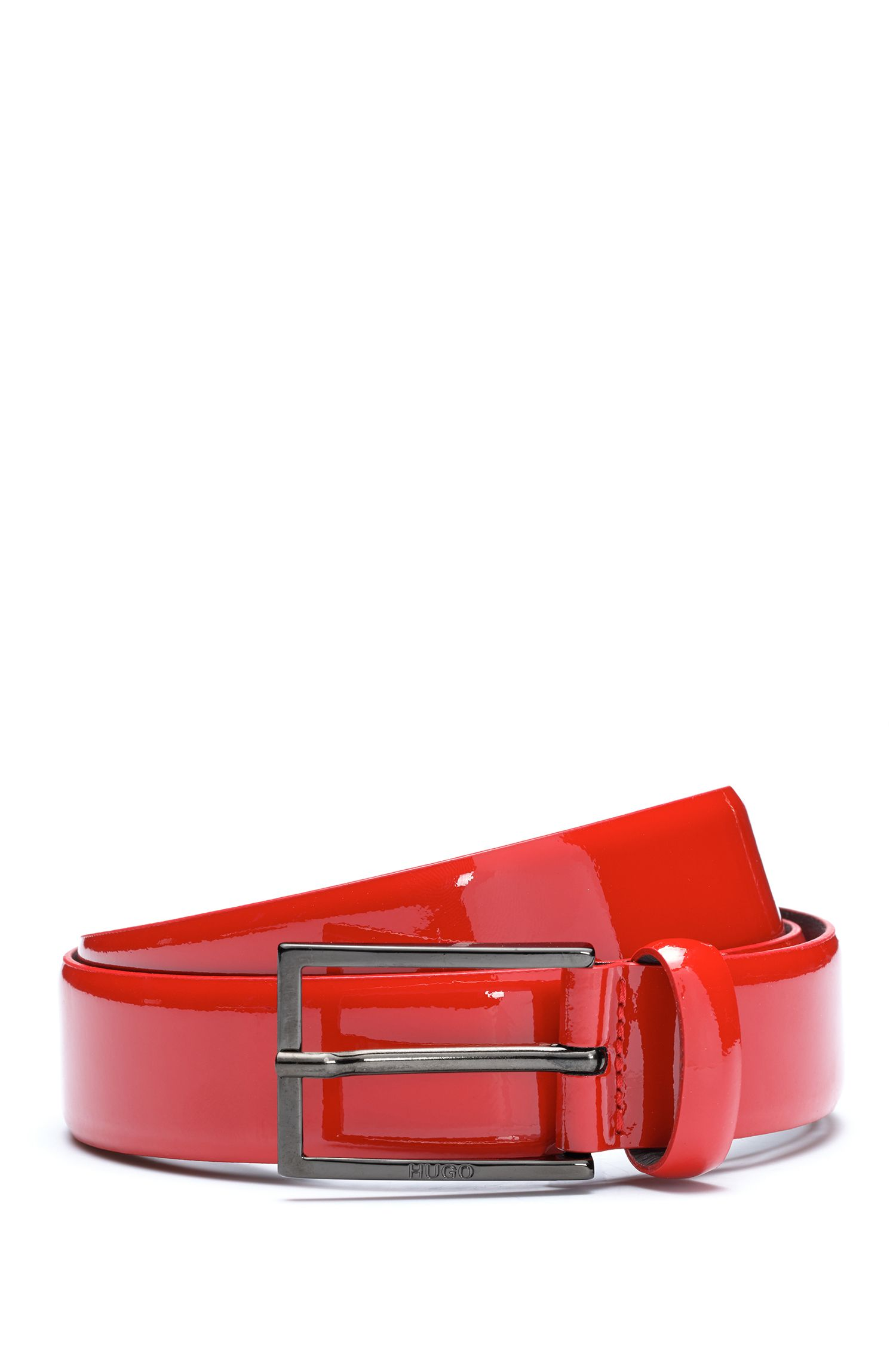 Patent Leather Belt | Gavino, Dark Red