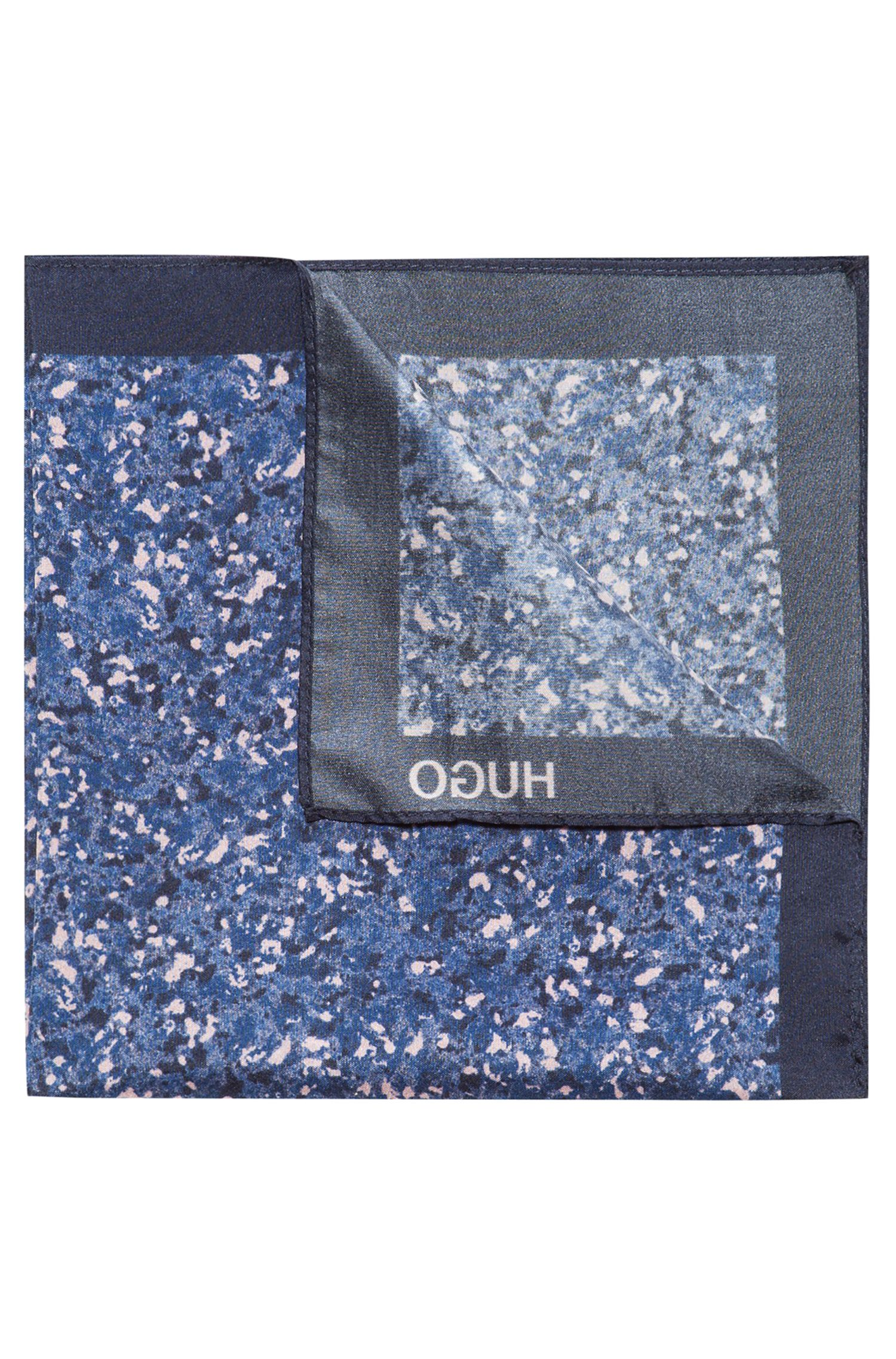 Marble-Patterned Italian Silk Pocket Square