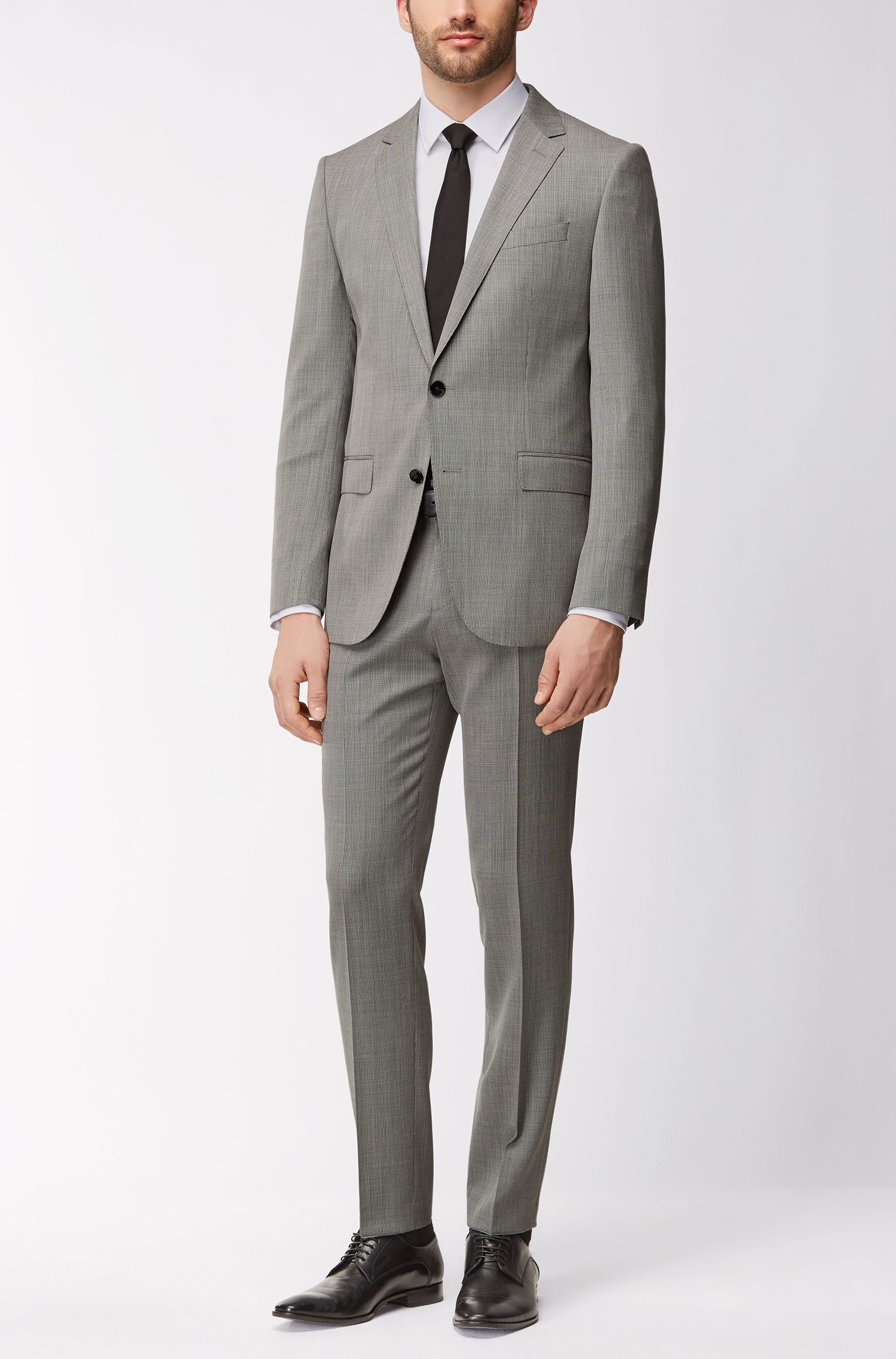 Virgin Wool Suit, Slim Fit | Novan/Ben, Open Grey
