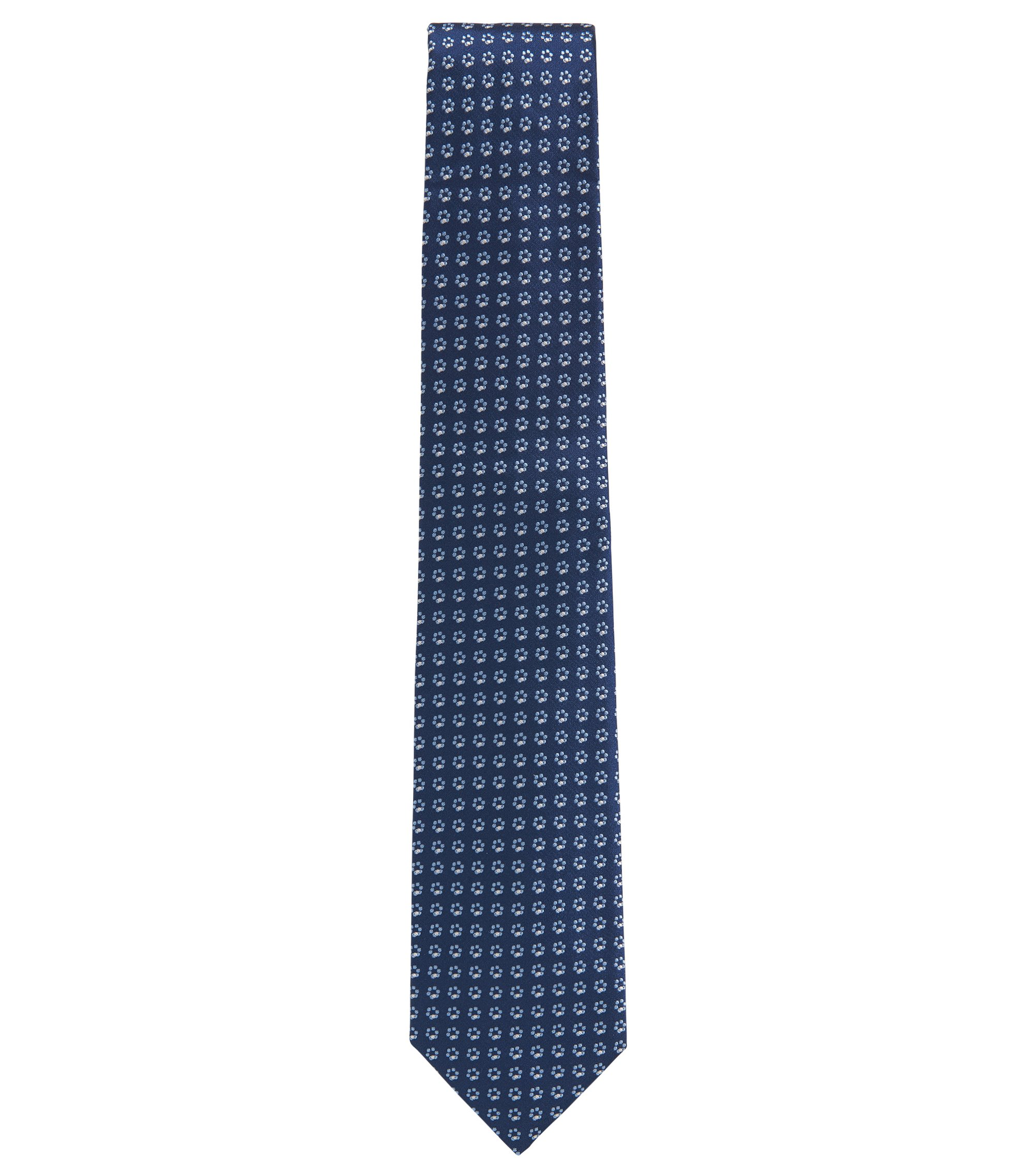 Floral Ring Italian Silk Tie, Open Blue