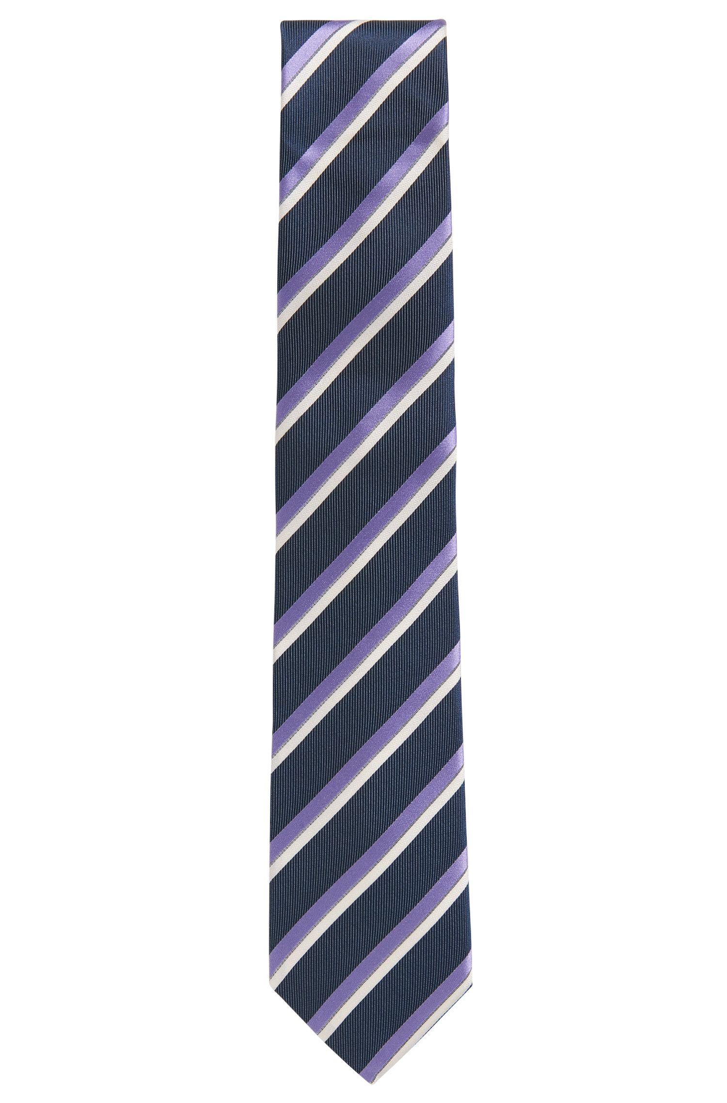Striped Italian Silk Repp Tie, Open Blue