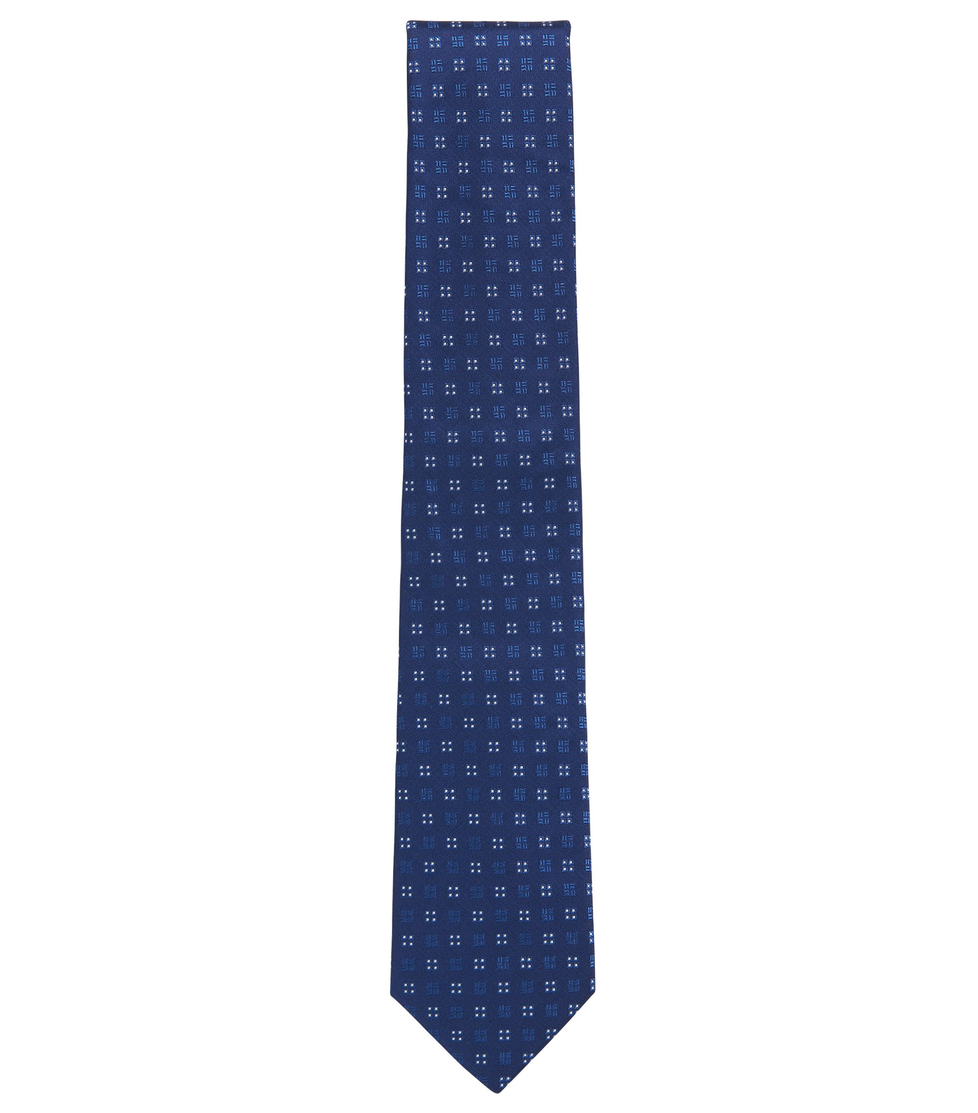 Square-Embroidered Italian Silk Tie, Blue