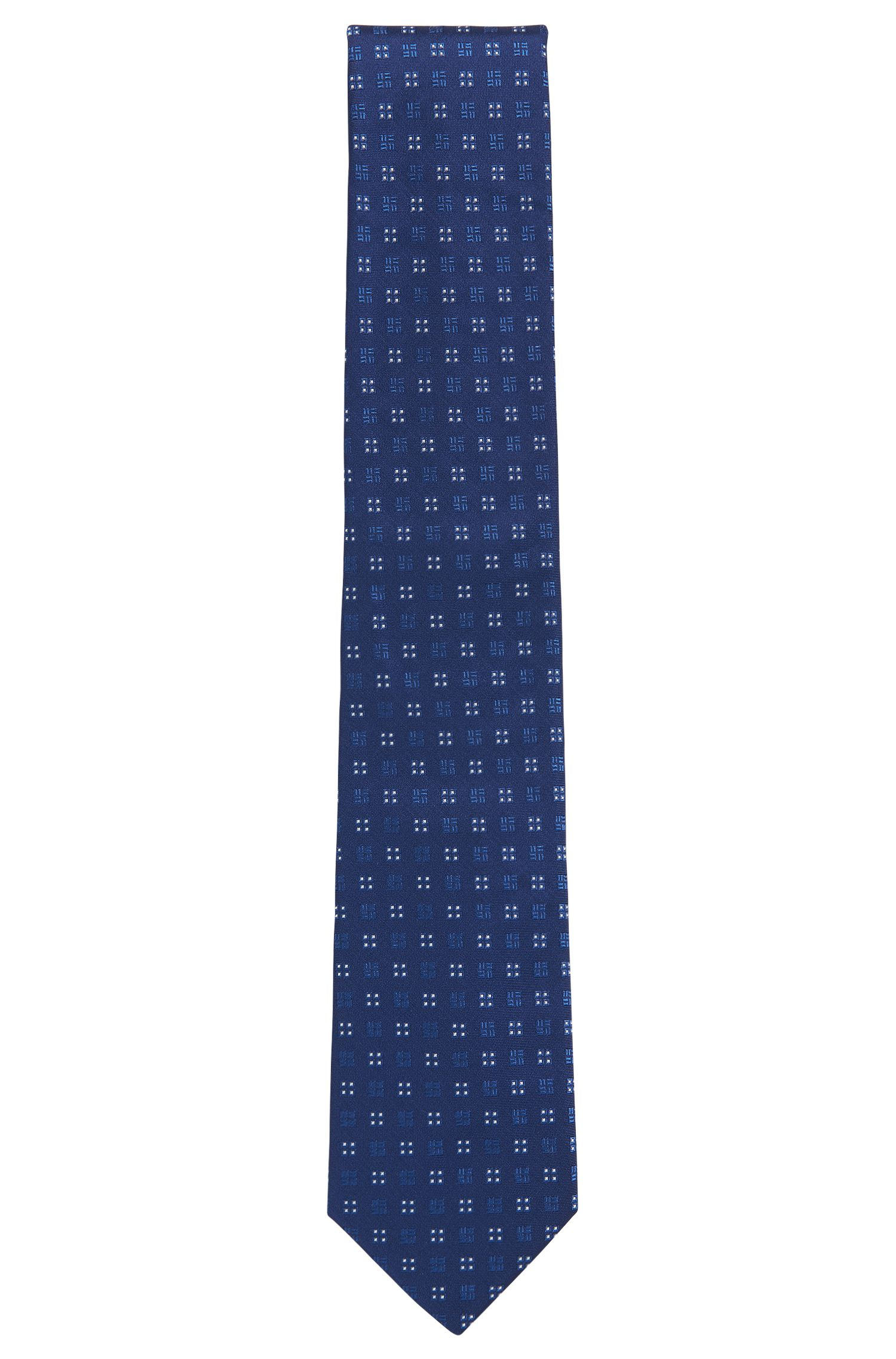 Square-Embroidered Italian Silk Tie