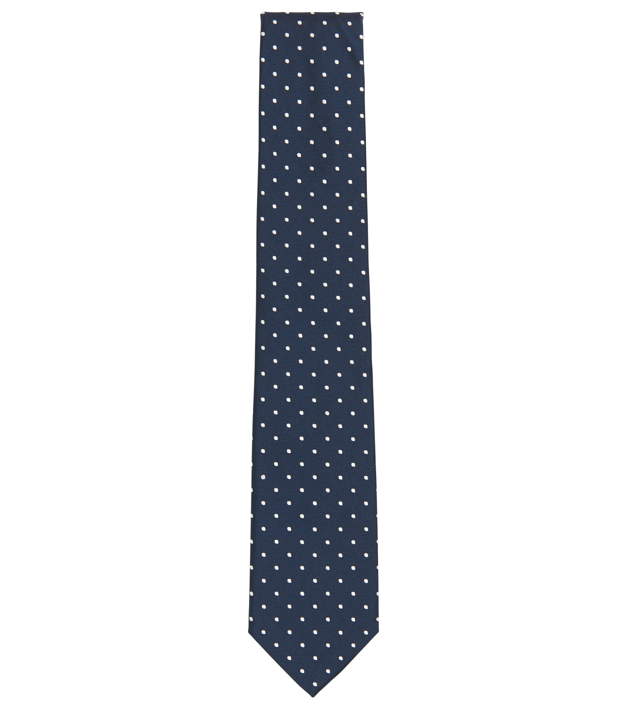 Polka Dot Silk Blend Tie, Dark Blue