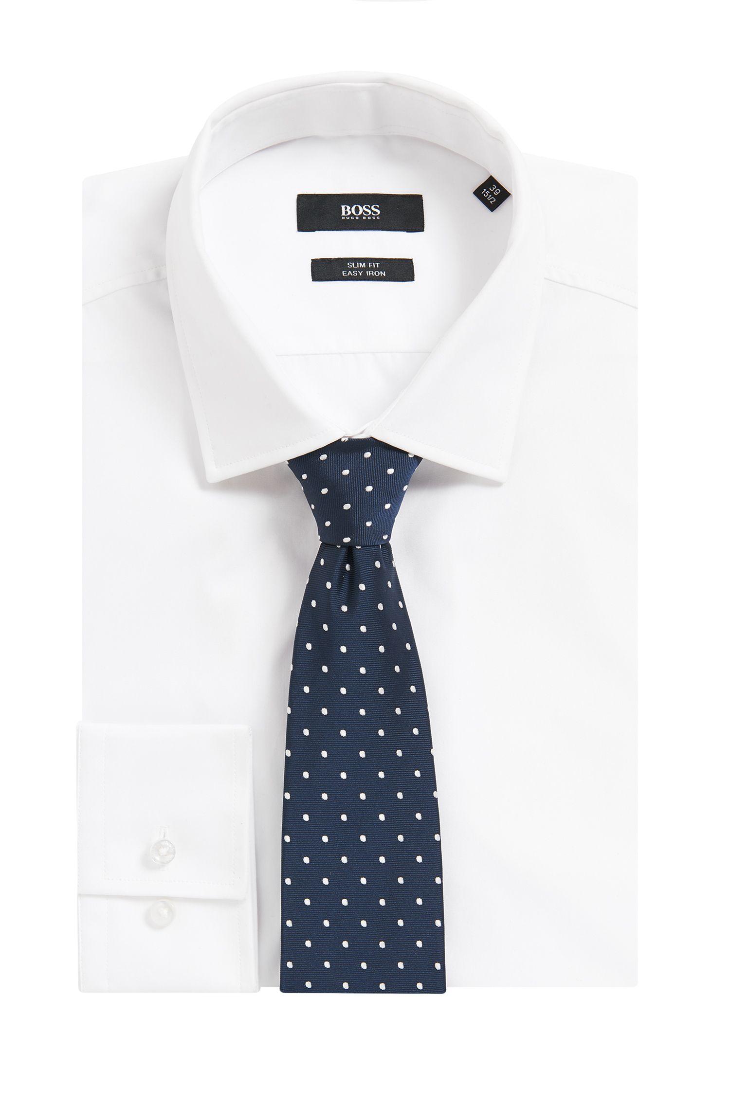 Polka Dot Silk Blend Tie, Dark Blue