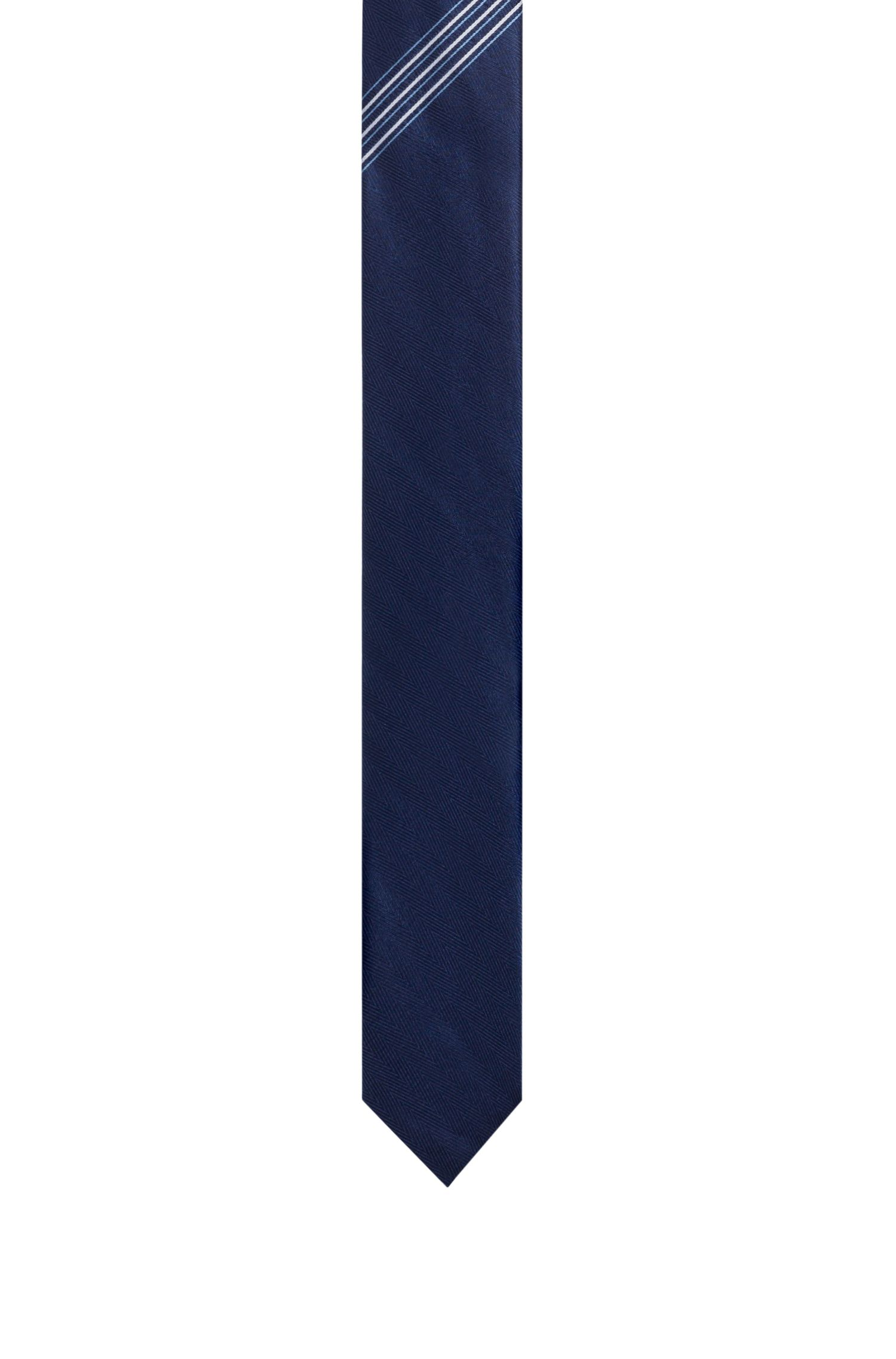 Striped Italian Silk Slim Tie, Dark Blue