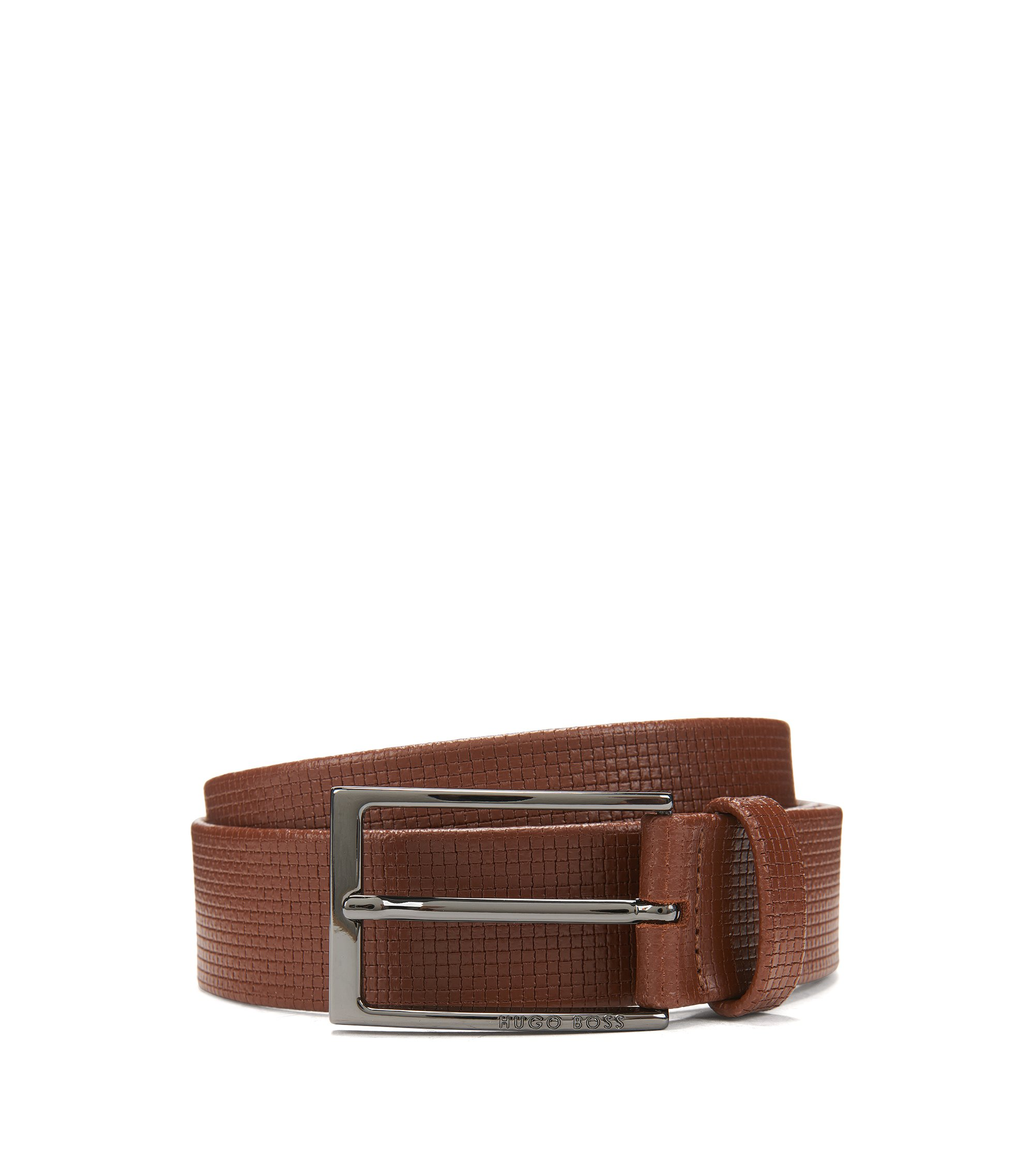 Basketweave-Embossed Leather Belt | Clauxy, Brown