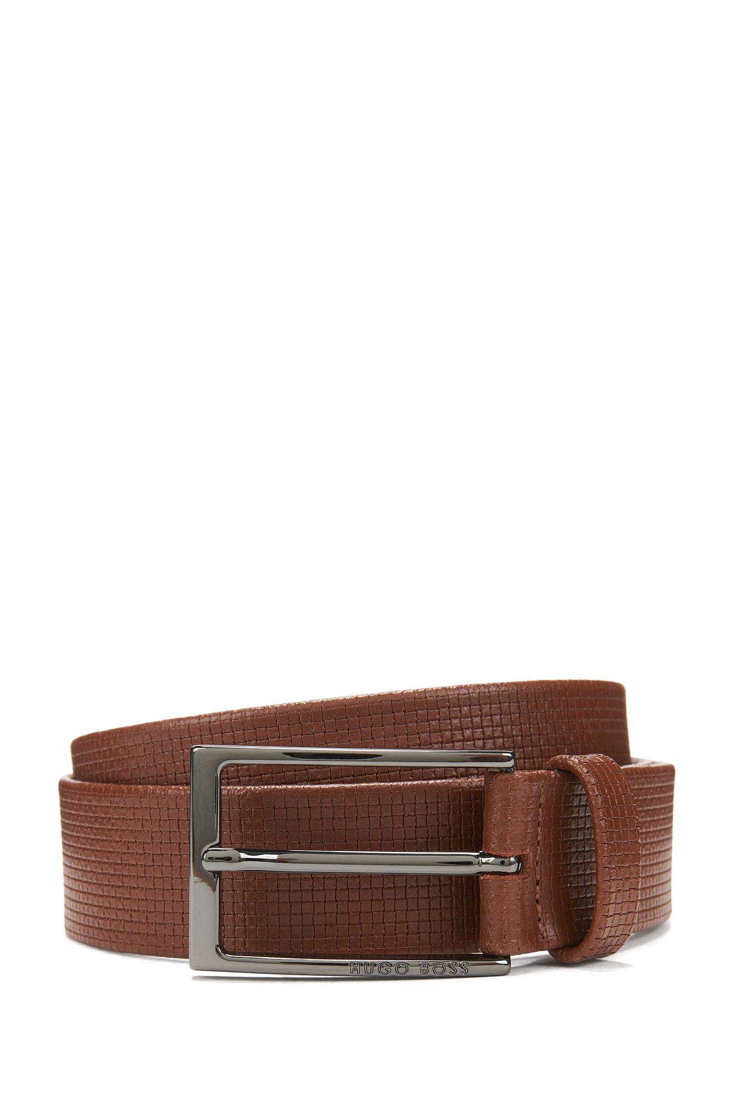 Basketweave-Embossed Leather Belt | Clauxy, Brown