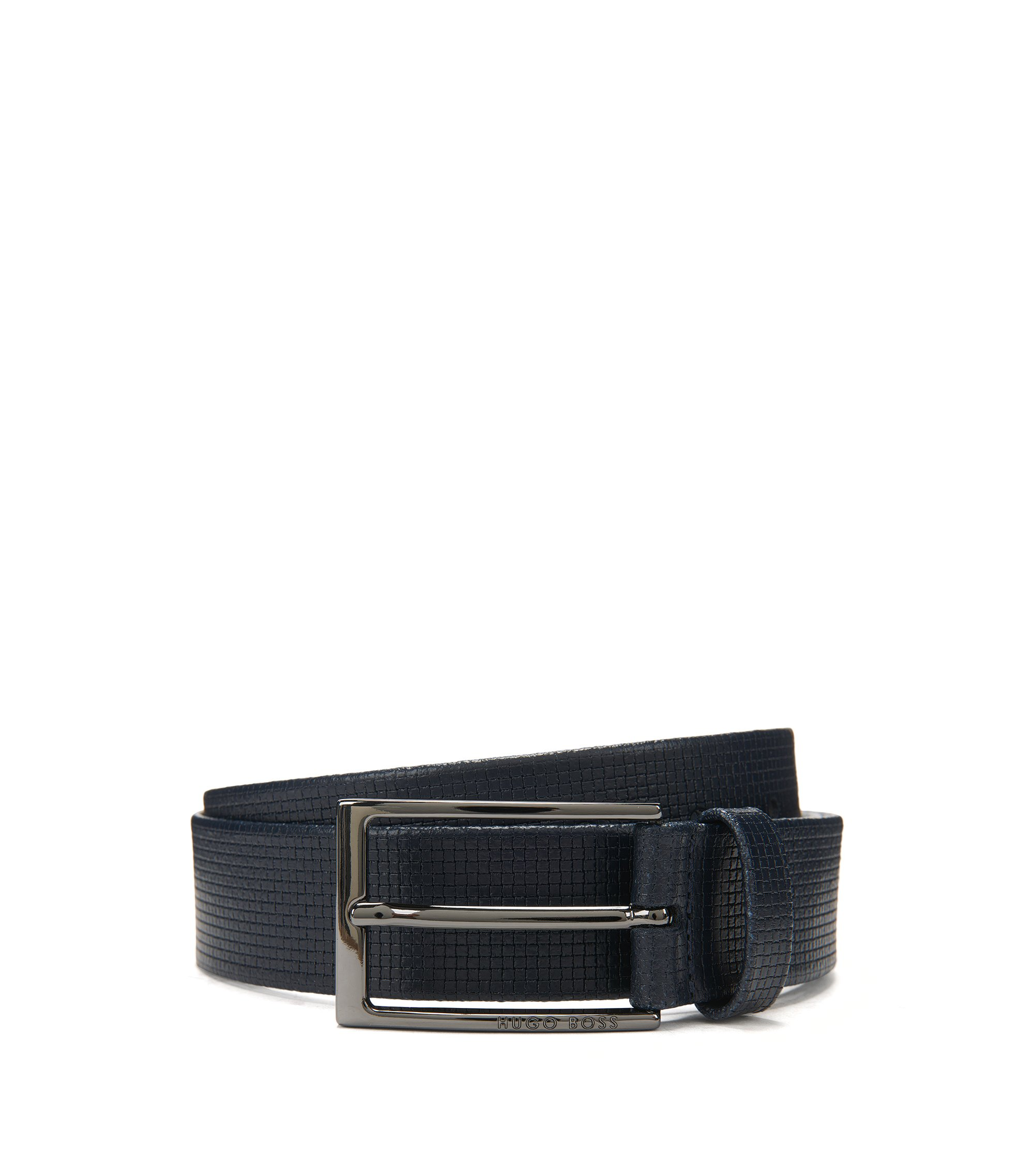 Basketweave-Embossed Leather Belt | Clauxy, Dark Blue