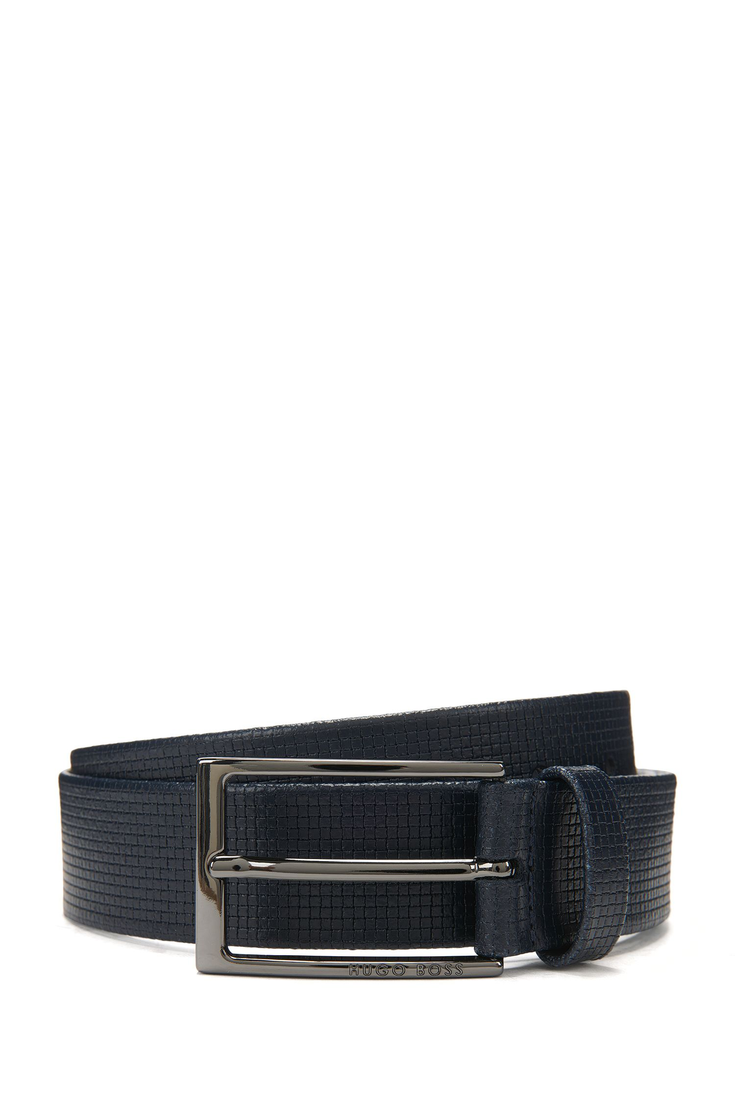 Basketweave-Embossed Leather Belt | Clauxy