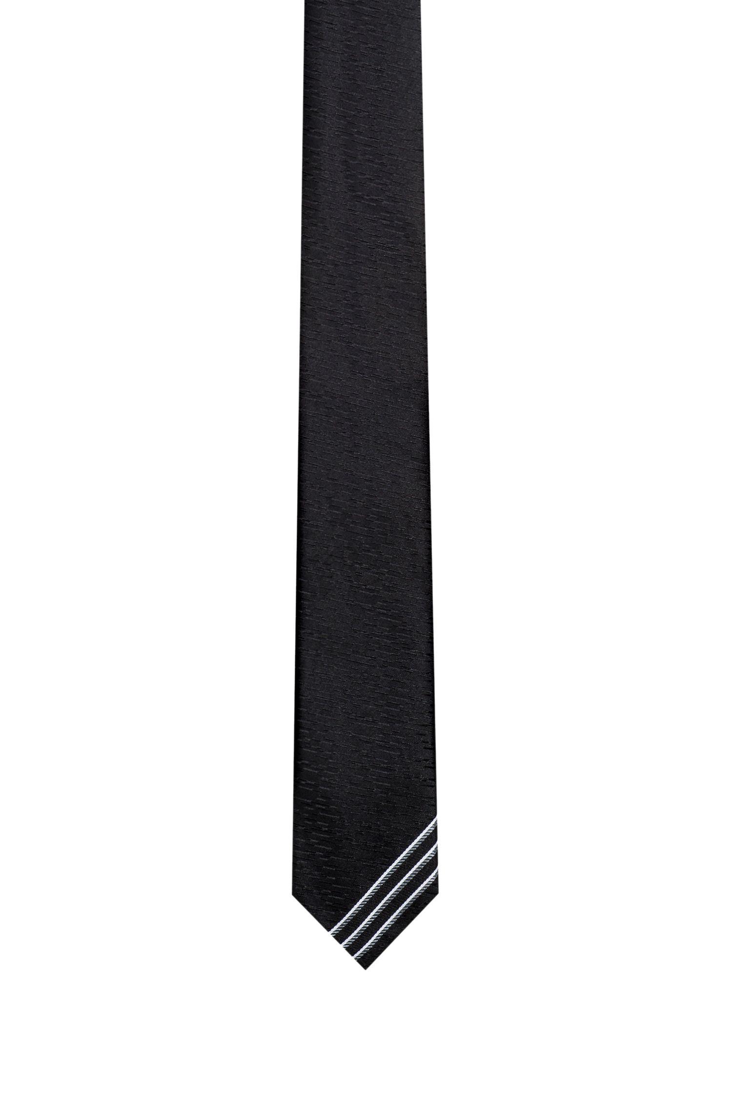Stripe-Tipped Italian Silk Slim Tie