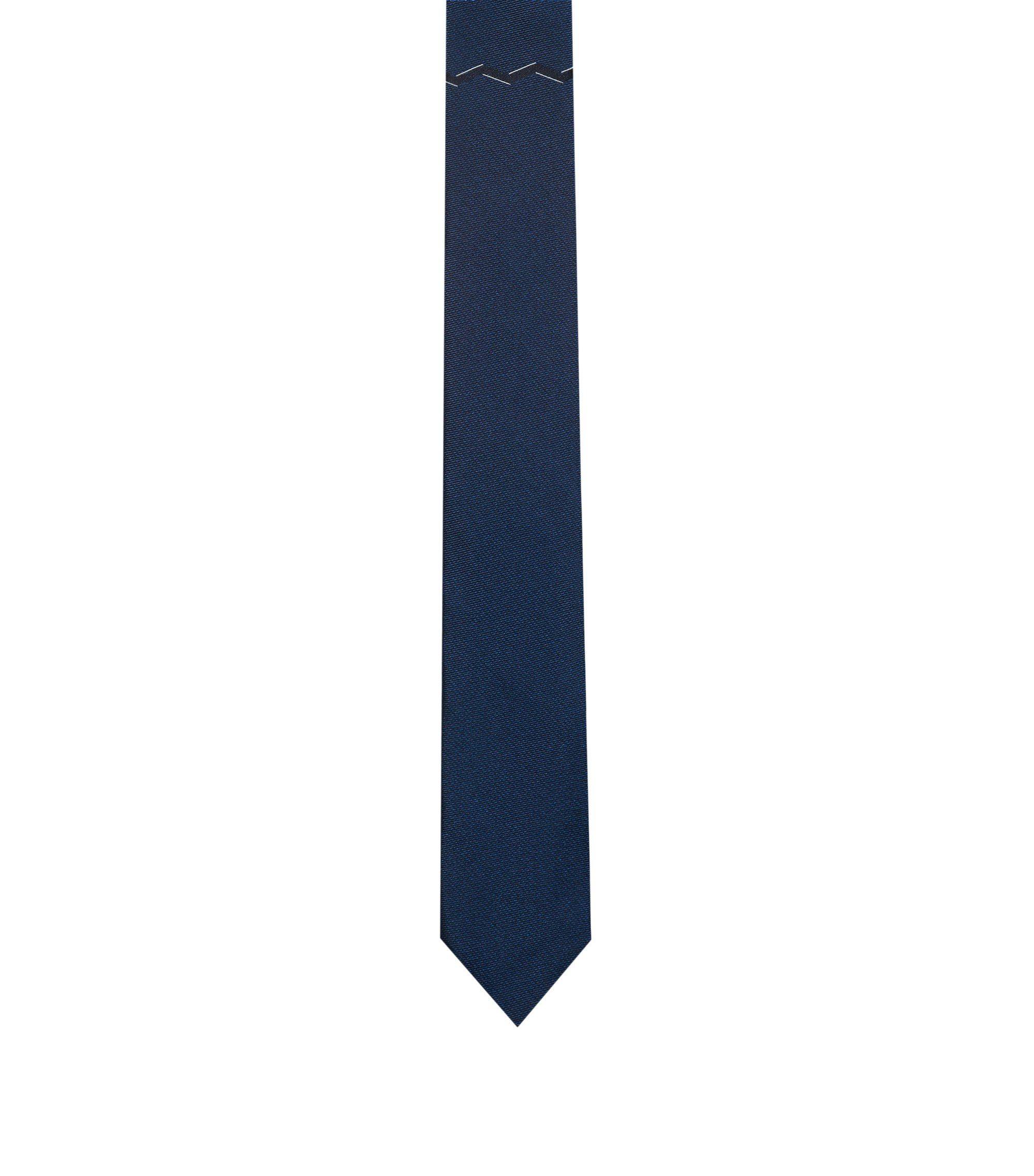 Geometric Italian Silk Slim Tie, Dark Blue