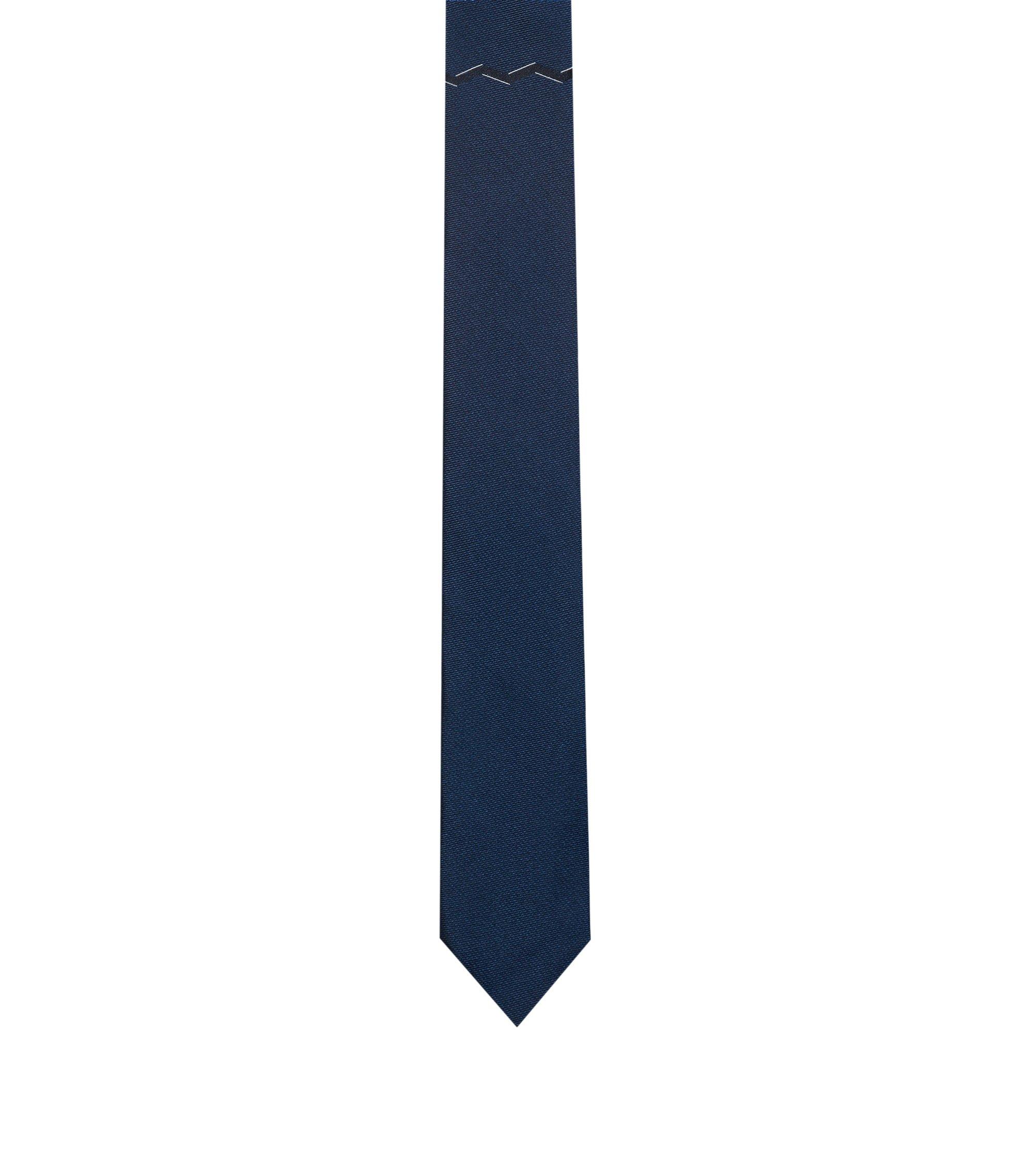 Geometric Italian Silk Slim Tie, Dark Blue