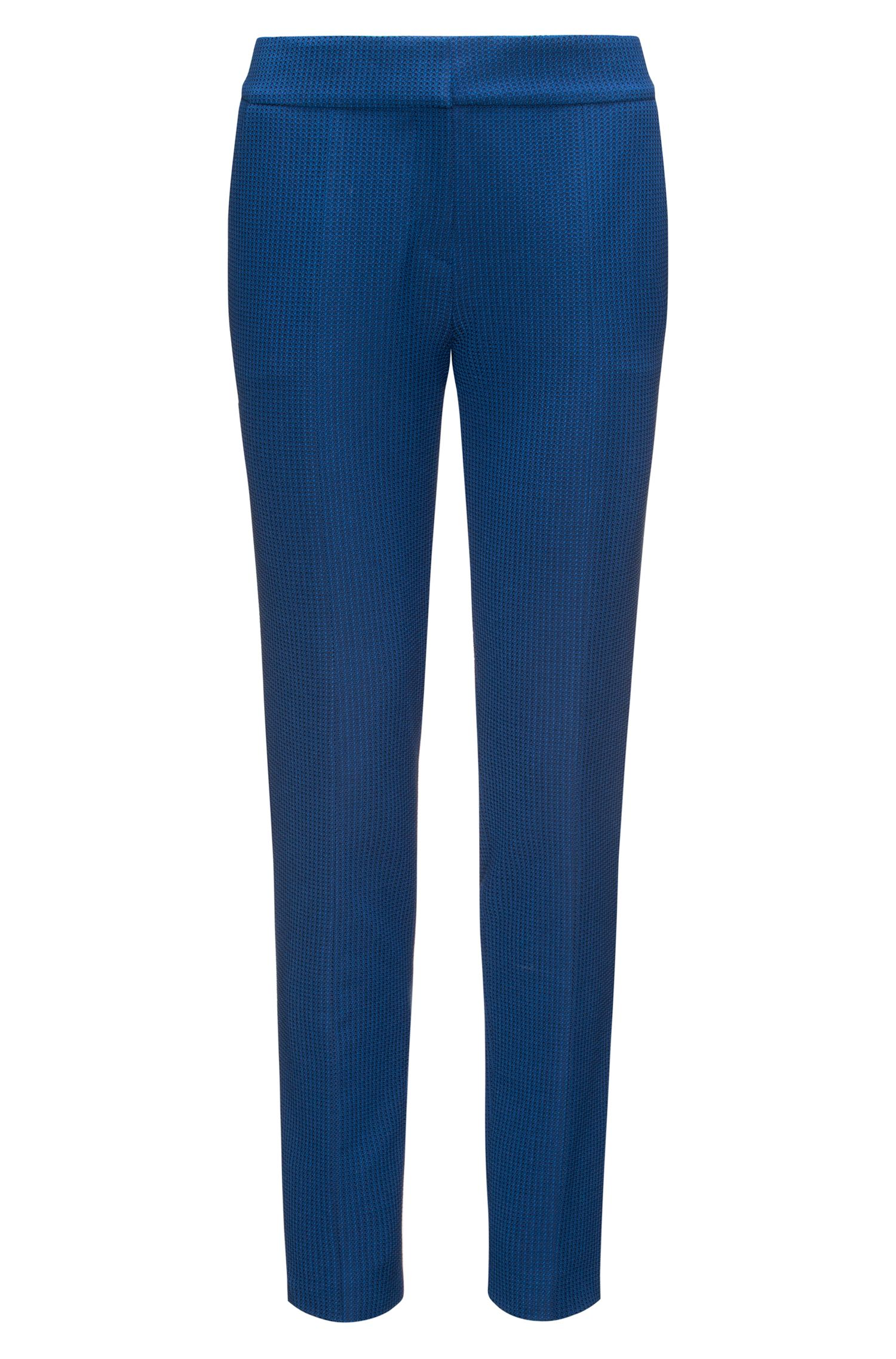 Patterned Cotton Blend Pant | Hevas, Dark Blue