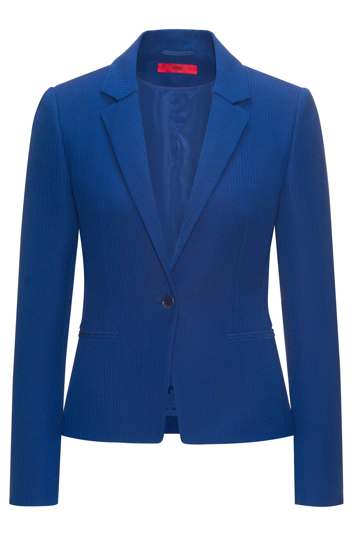 Patterned Cotton Blend Blazer | Asima, Dark Blue