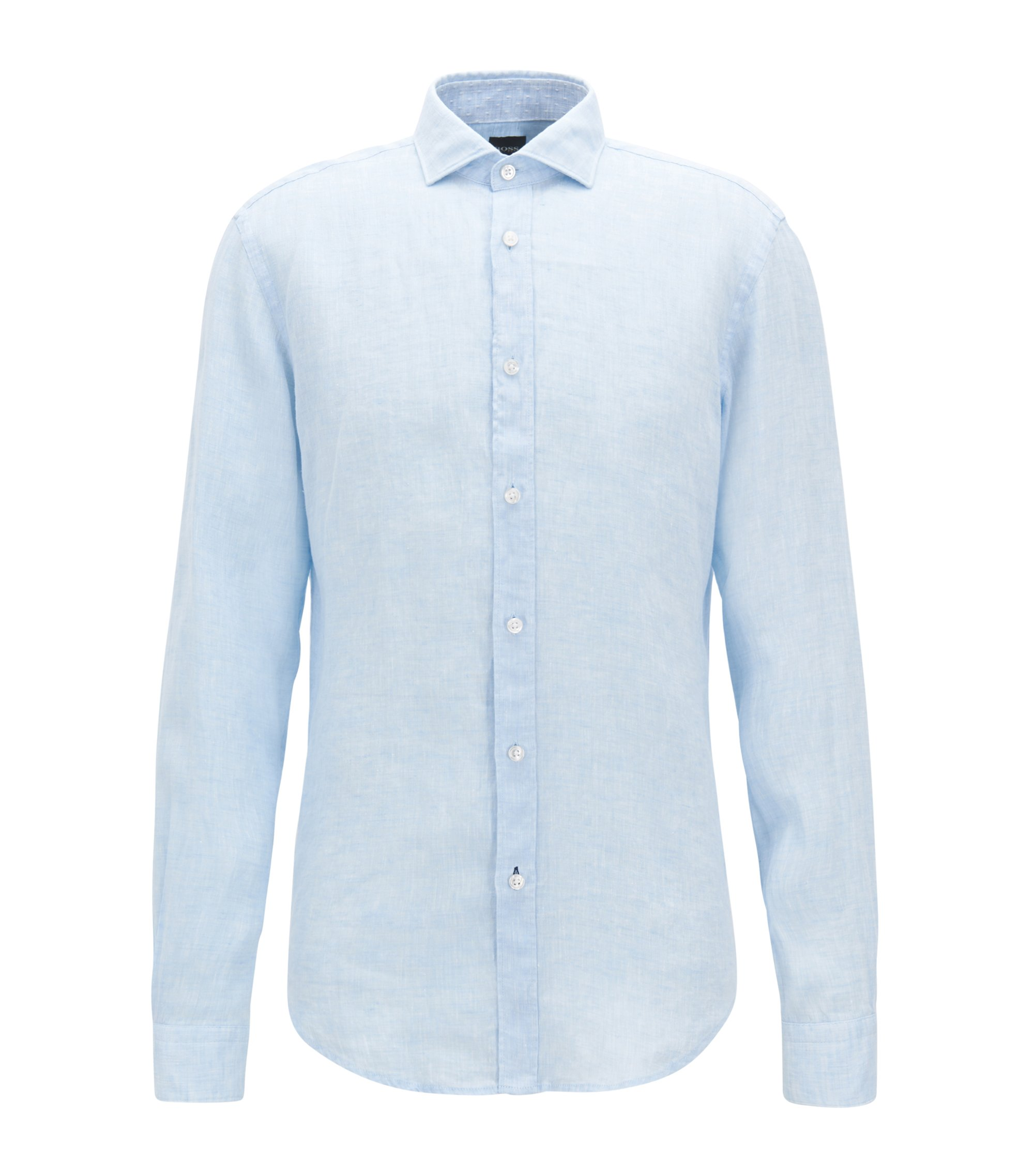 Slub Linen Sport Shirt, Slim Fit | Ridley, Dark Blue