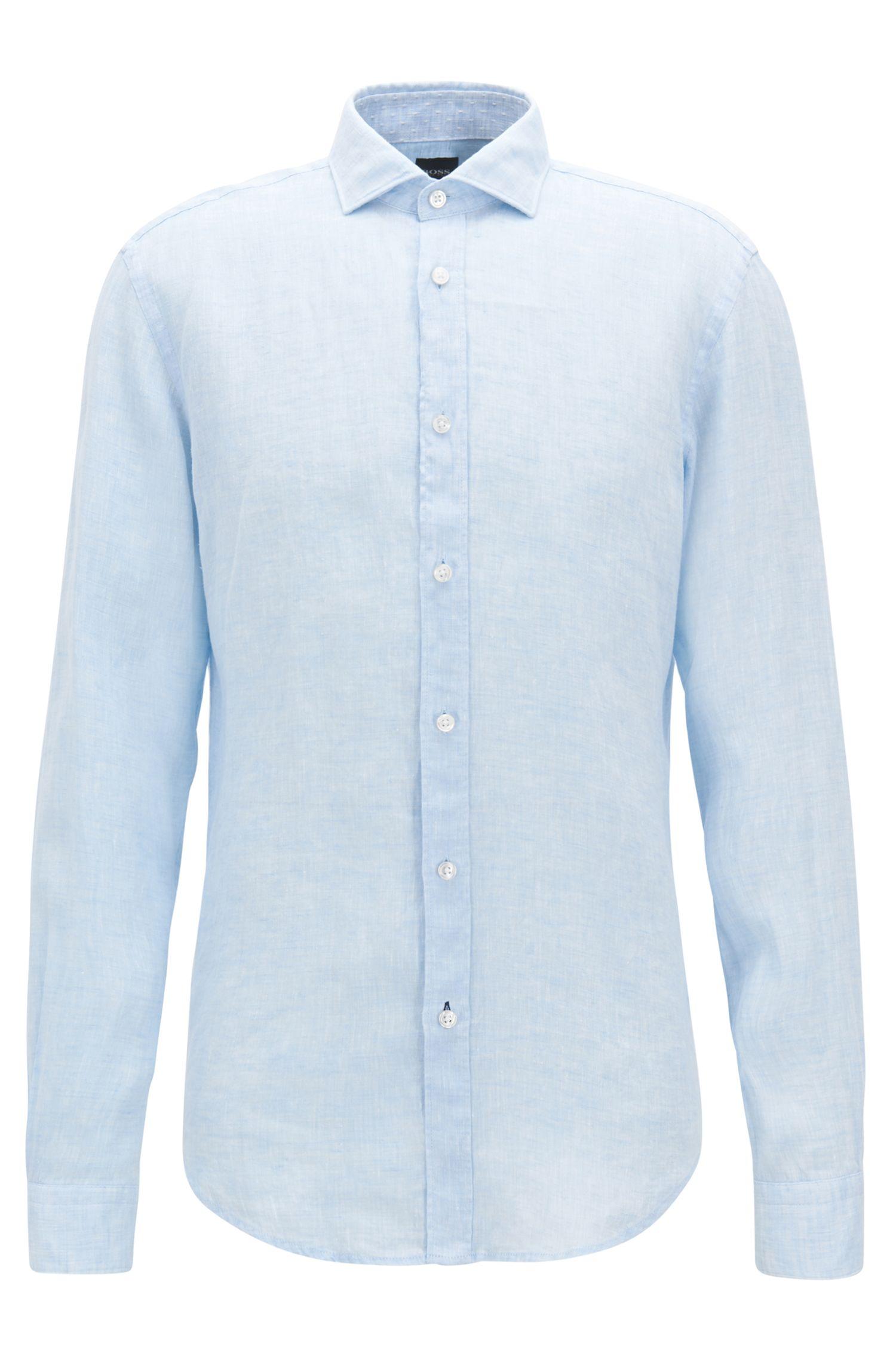 Slub Linen Sport Shirt, Slim Fit | Ridley, Dark Blue