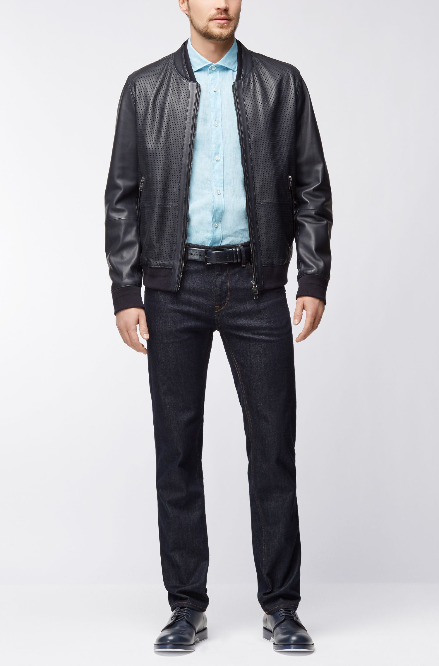 Slub Linen Sport Shirt, Slim Fit | Ridley, Light Blue